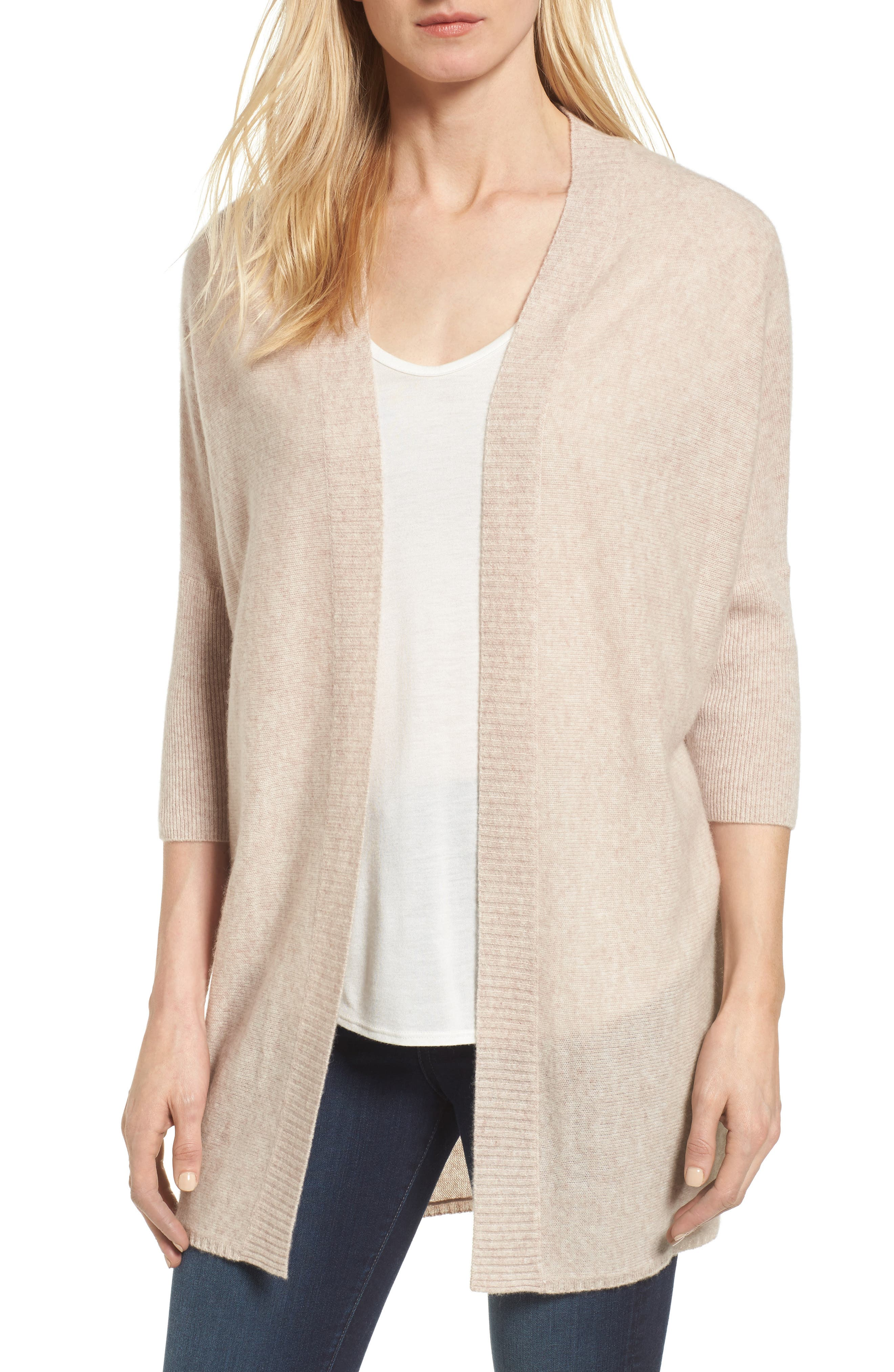 Three-Quarter Sleeve Cashmere Cardigan,                             Main thumbnail 4, color,