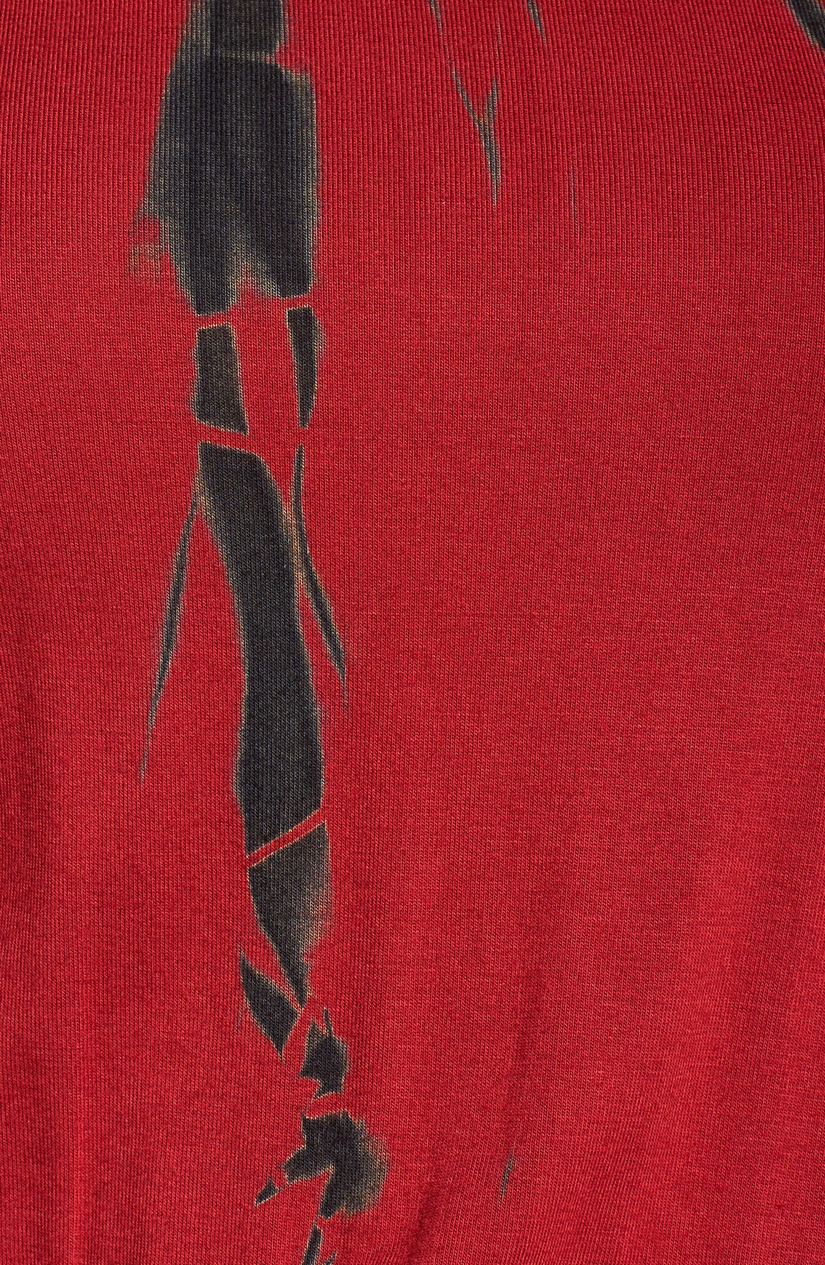 Tie Dye Blouson Midi Dress,                             Alternate thumbnail 5, color,                             WINE BLACK