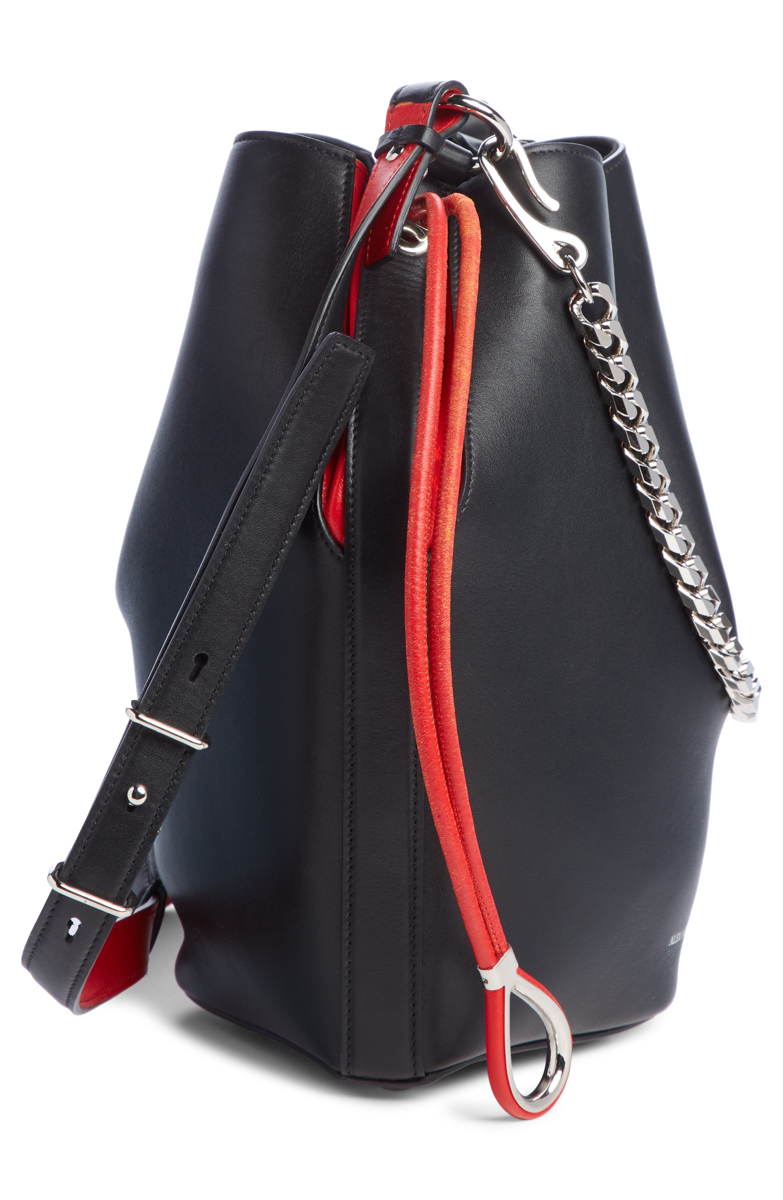 Bicolor Leather Bucket Bag,                             Alternate thumbnail 4, color,                             BLACK/ LUST RED