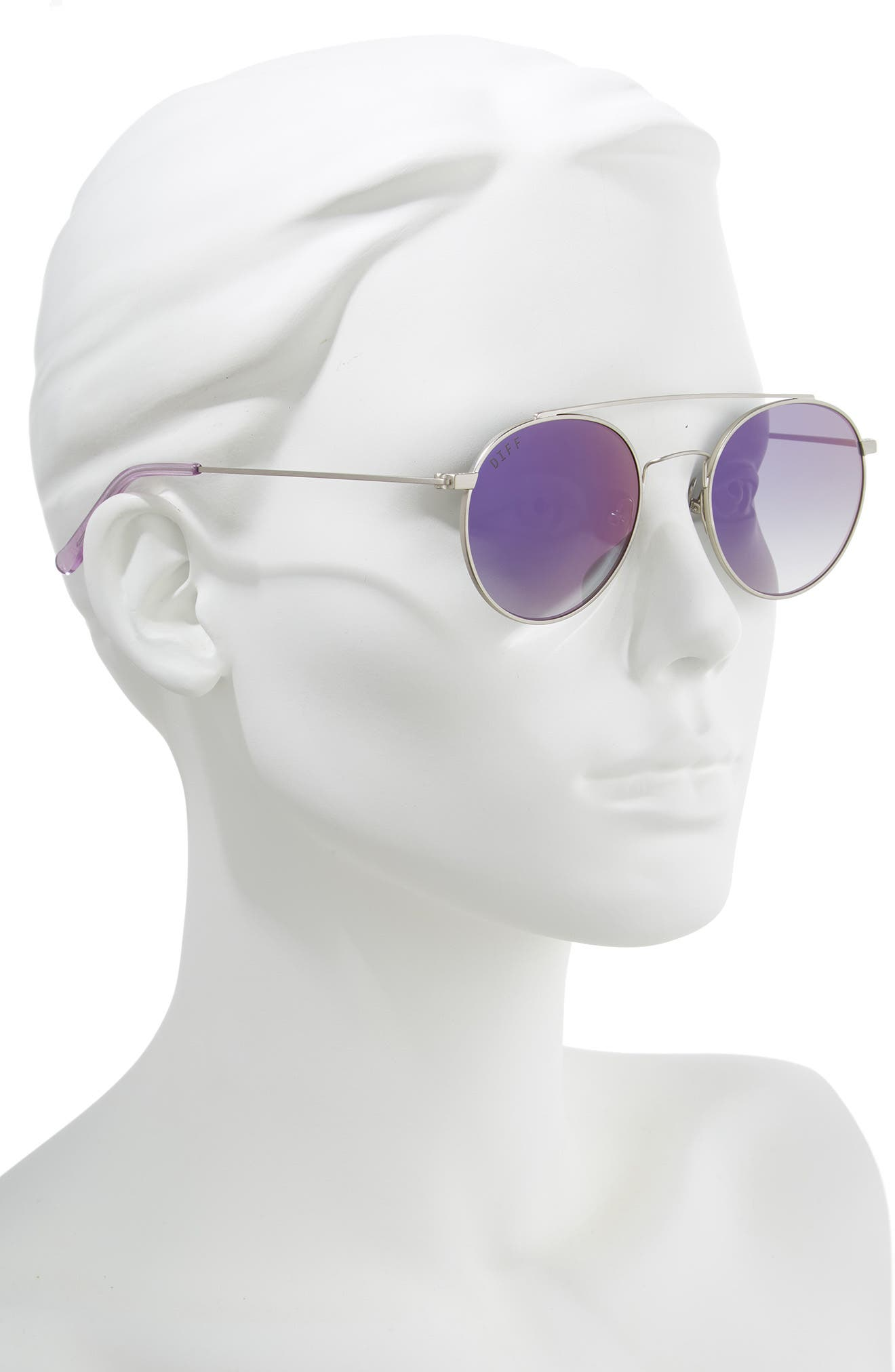 x Jessie James Decker Skye 52mm Polarized Round Sunglasses,                             Alternate thumbnail 2, color,                             BRUSHED SILVER/ PURPLE