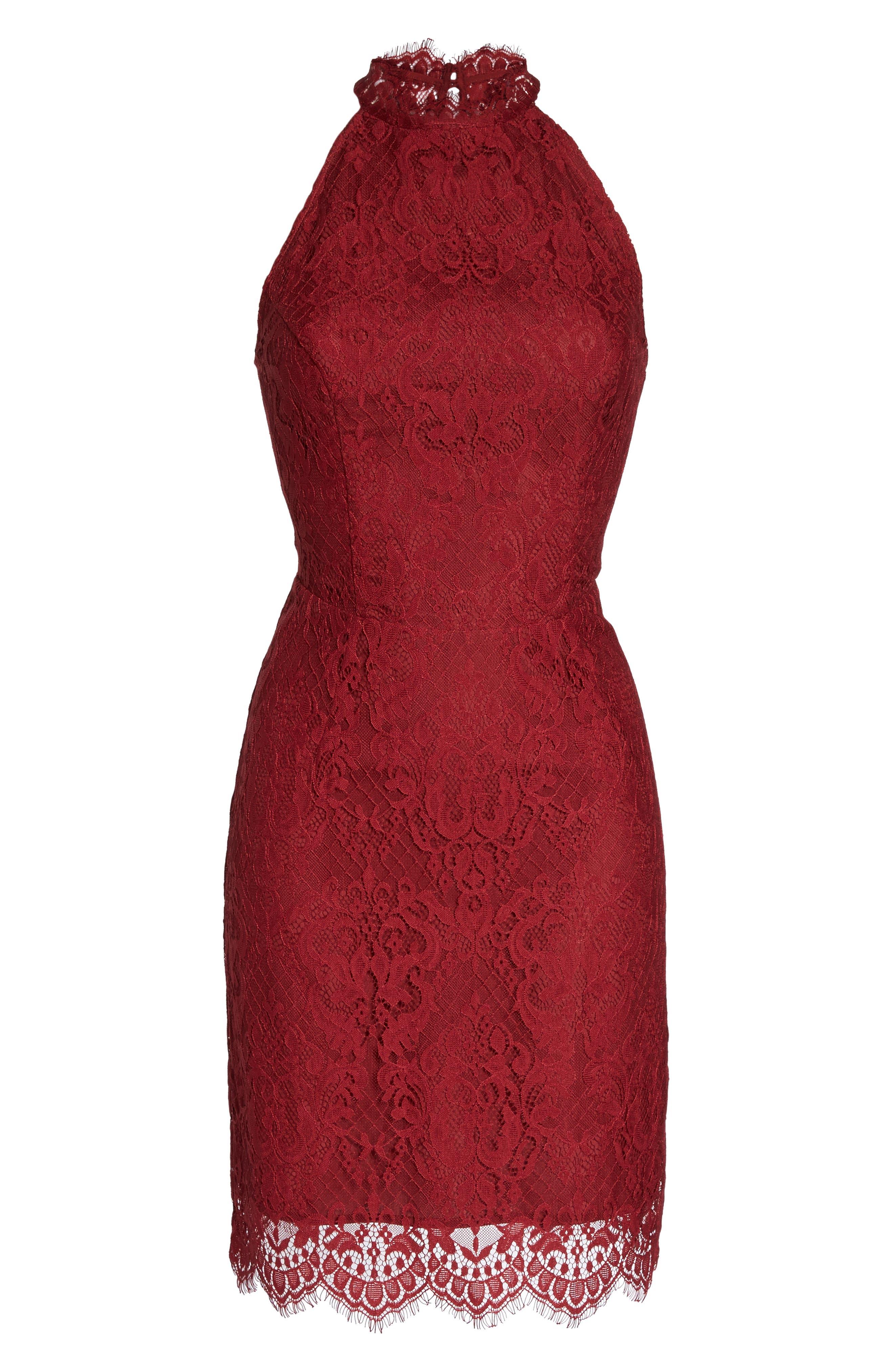 Cherie Lace Halter Sheath Dress,                             Alternate thumbnail 12, color,