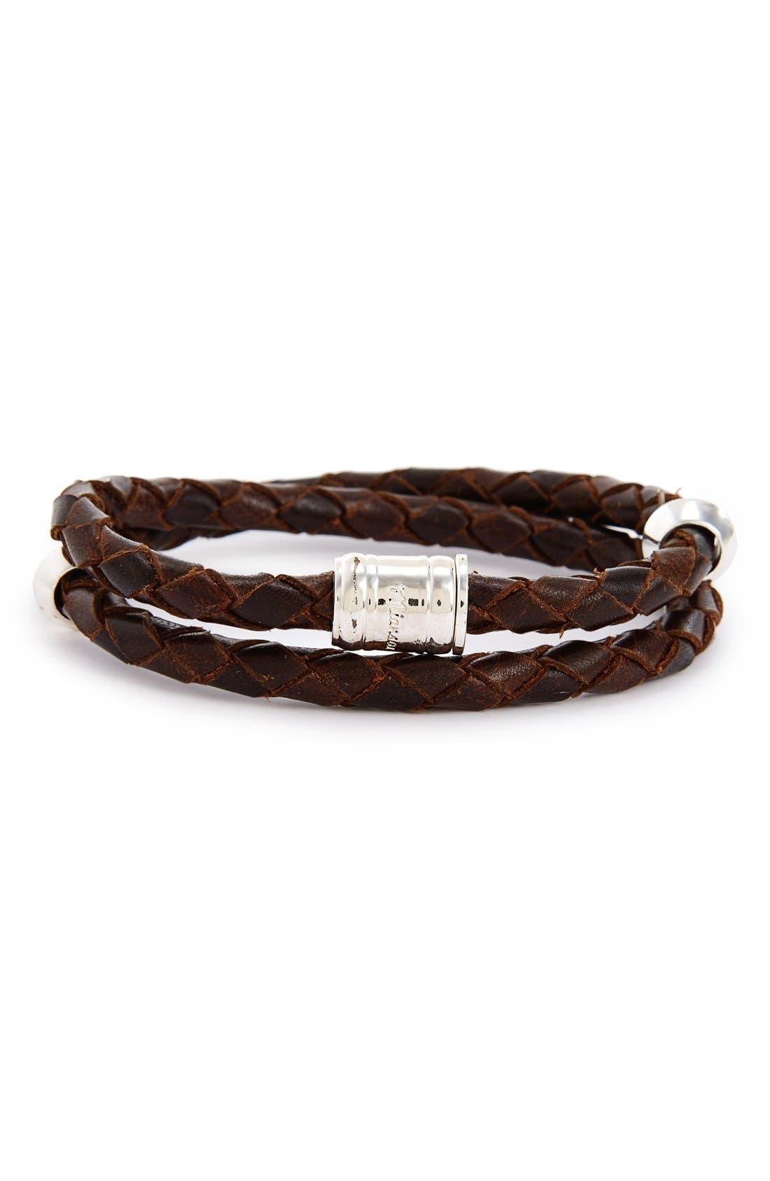 Braided Leather Bracelet,                             Main thumbnail 5, color,