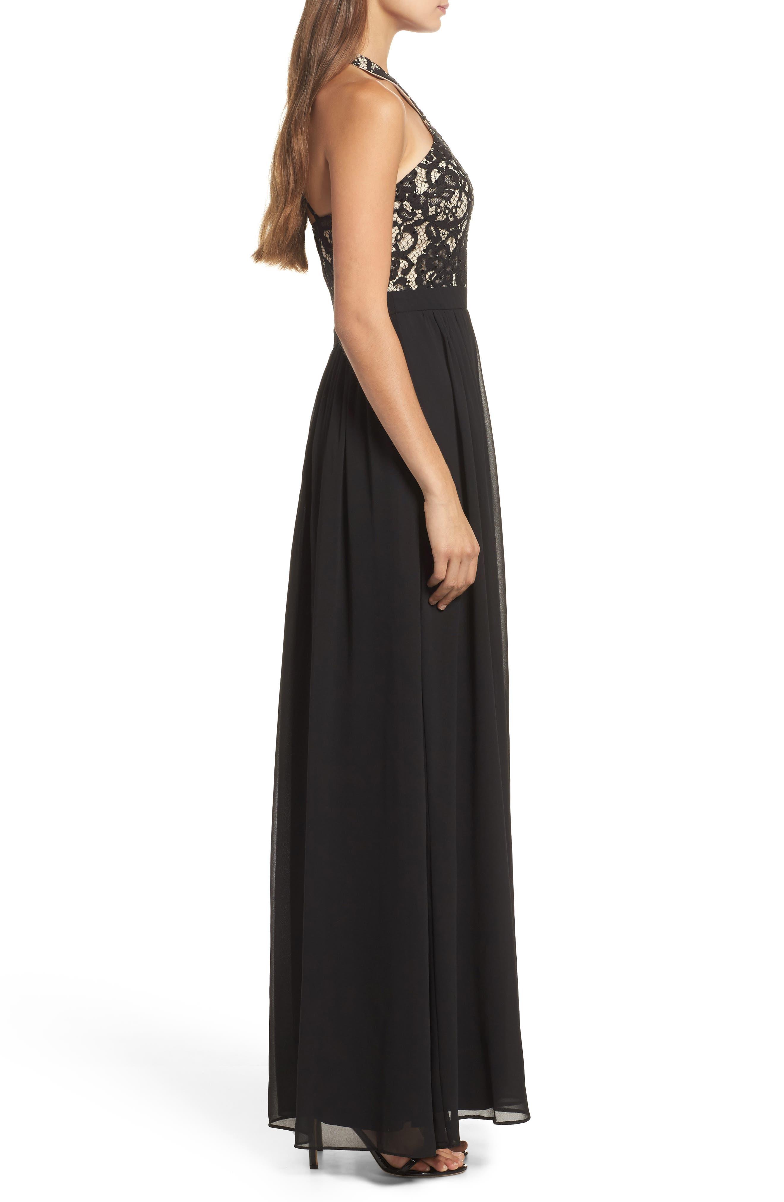 Sequin Lace & Chiffon Halter Gown,                             Alternate thumbnail 3, color,                             BLACK/ NUDE