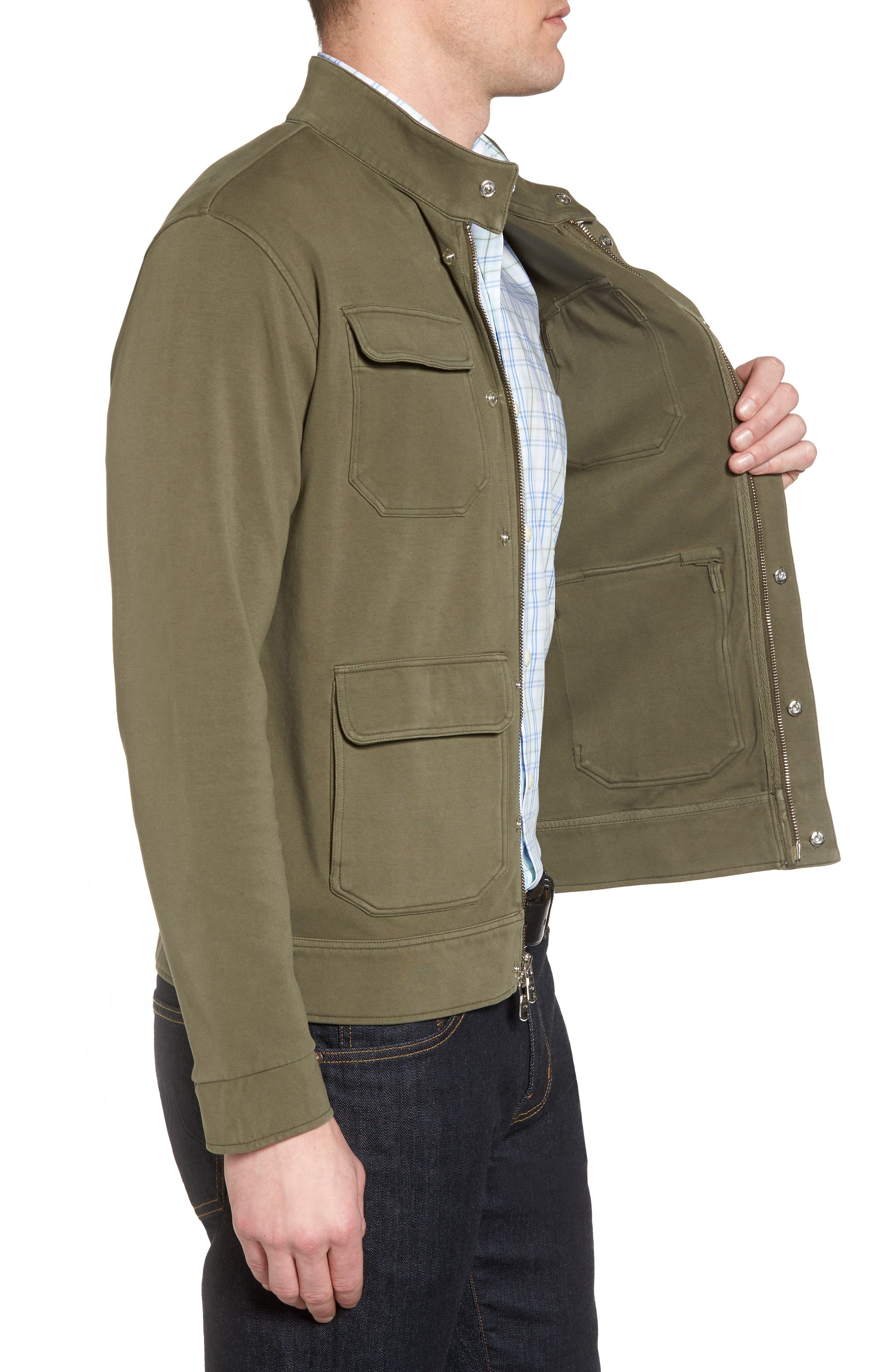 Regular Fit Safari Jersey Jacket,                             Alternate thumbnail 3, color,