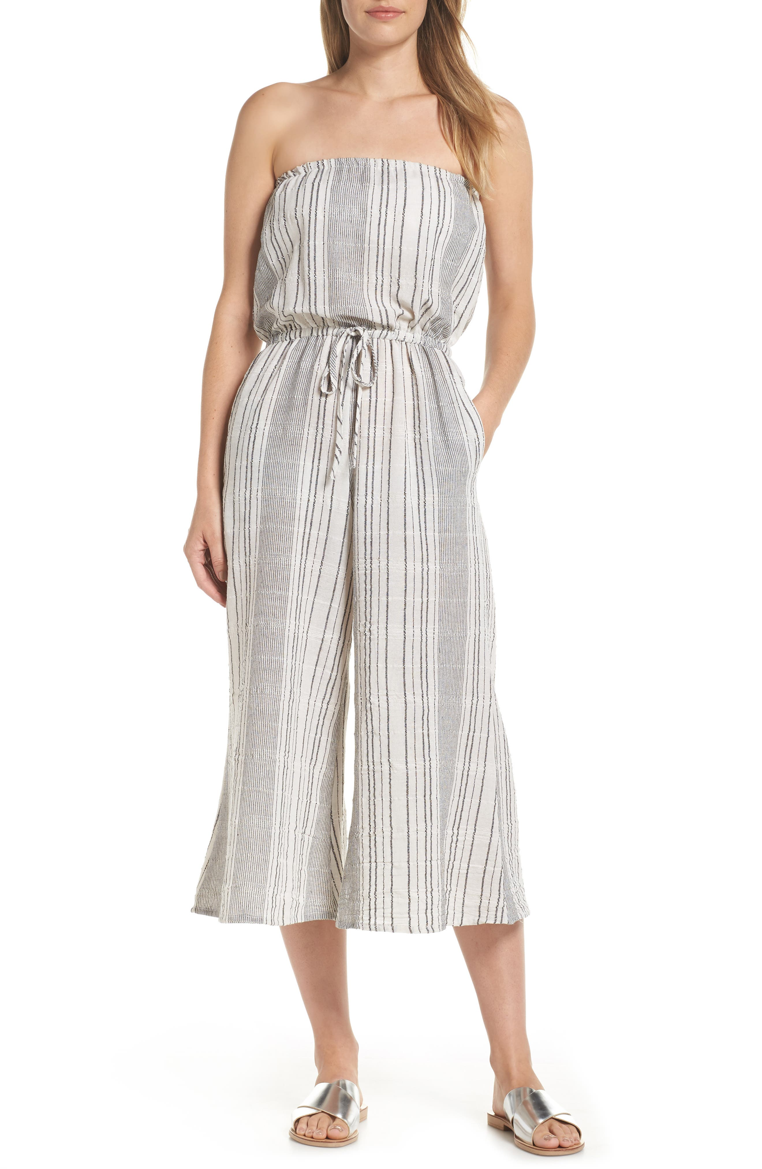 Elan Strapless Cover-Up Culotte Jumpsuit, White