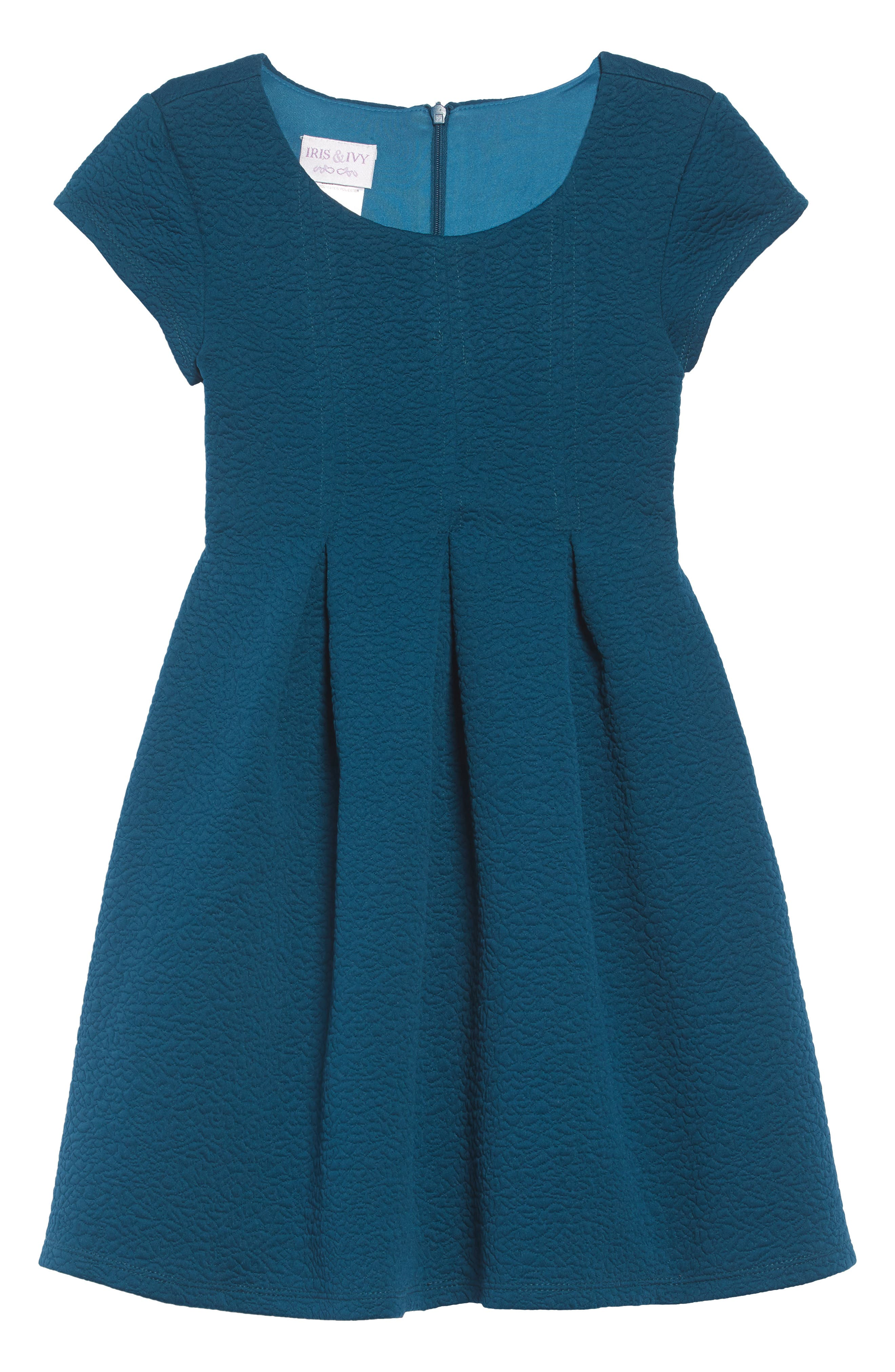 Textured Skater Dress,                             Main thumbnail 1, color,                             PEACOCK