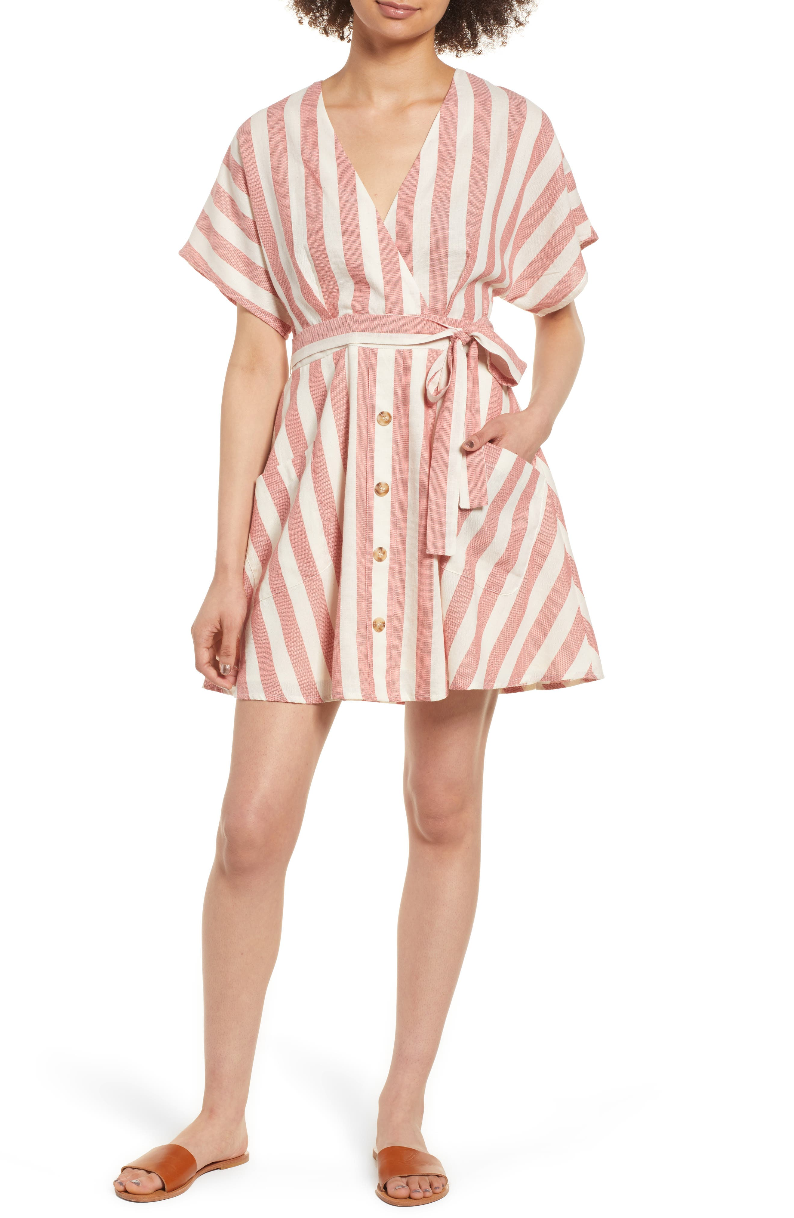 Stripe Cotton Wrap Dress,                             Main thumbnail 1, color,                             RED STRIPE