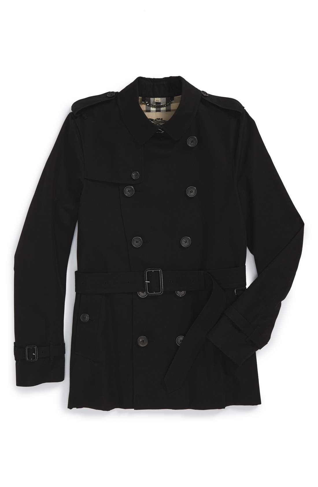 Sandringham Short Double Breasted Trench Coat,                             Alternate thumbnail 4, color,                             BLACK