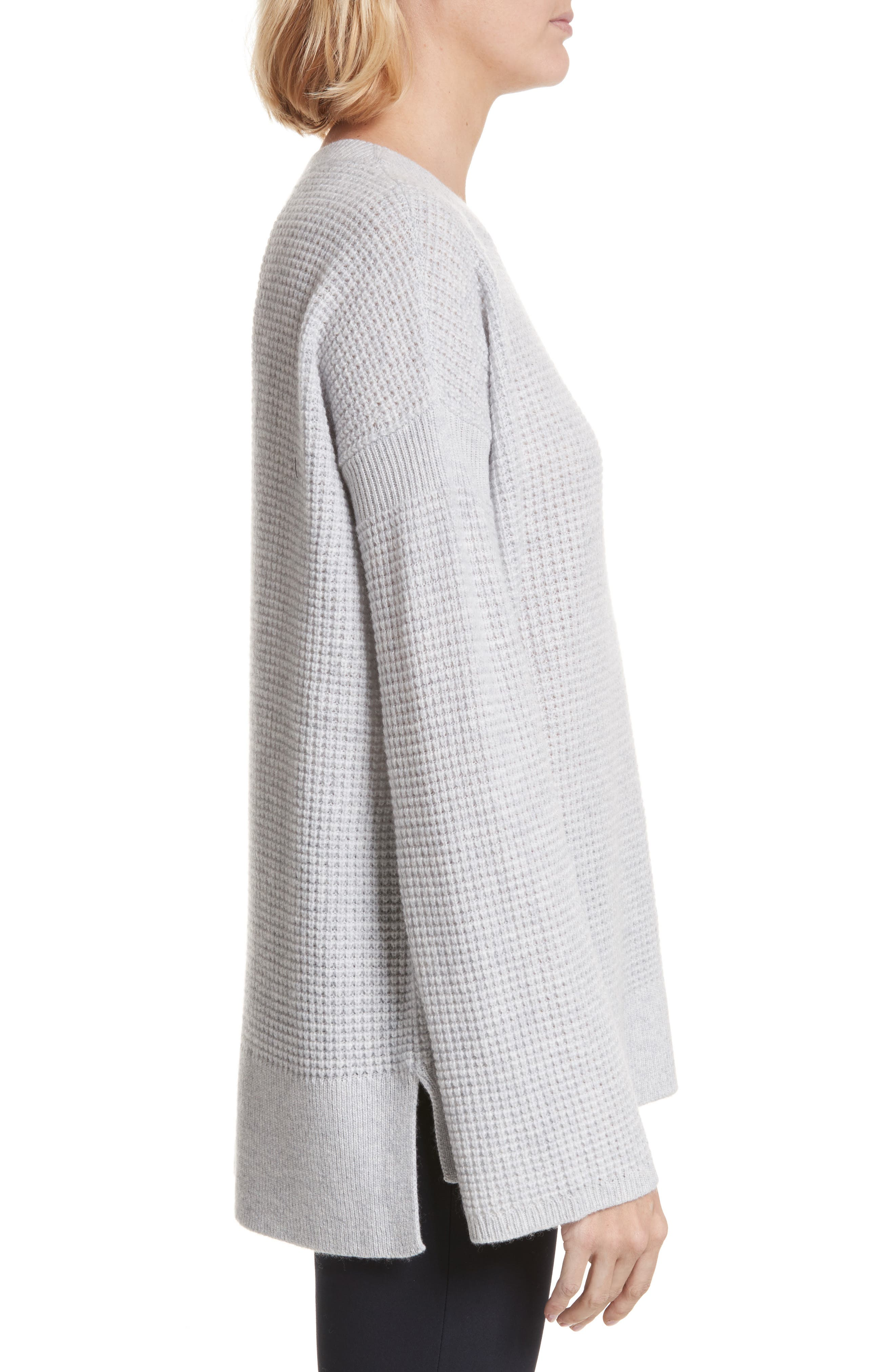 Cinch Sleeve Cashmere Sweater,                             Alternate thumbnail 3, color,                             090