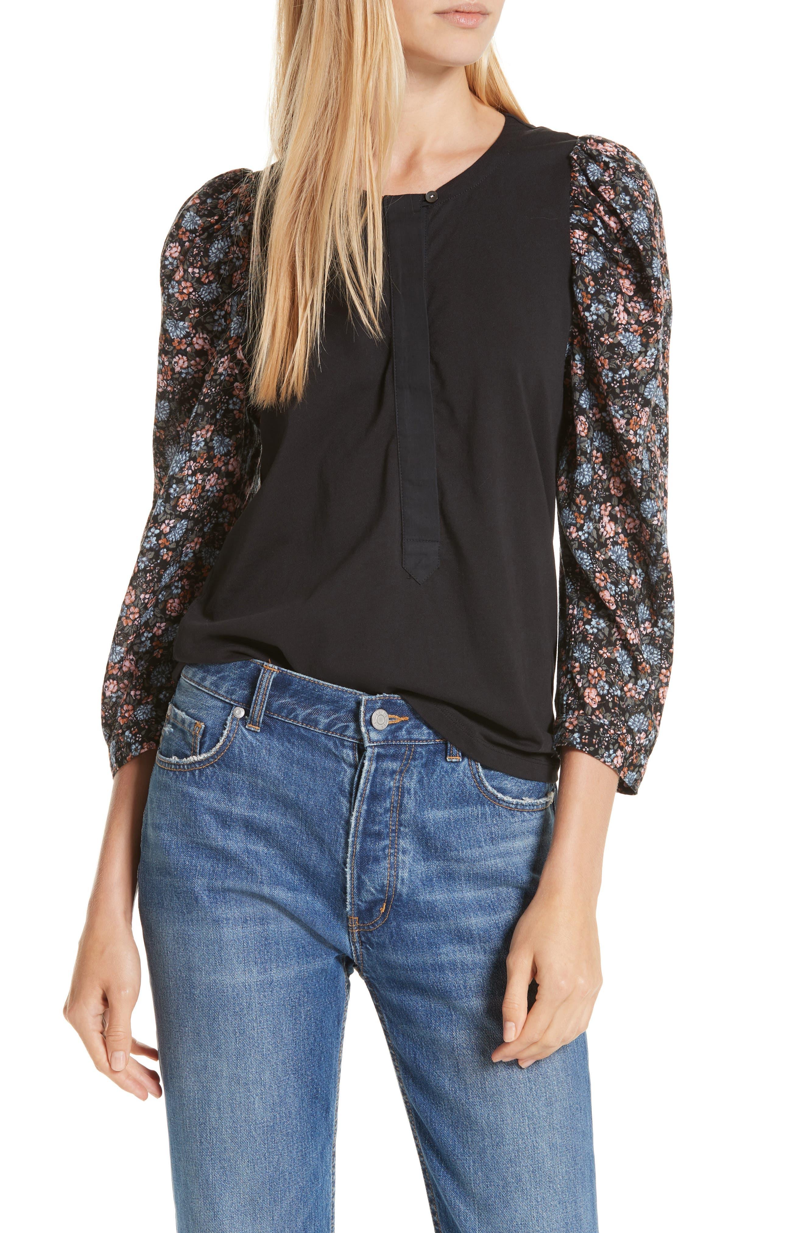 LA VIE REBECCA TAYLOR Lisette Contrast Sleeve Top in Black Combo