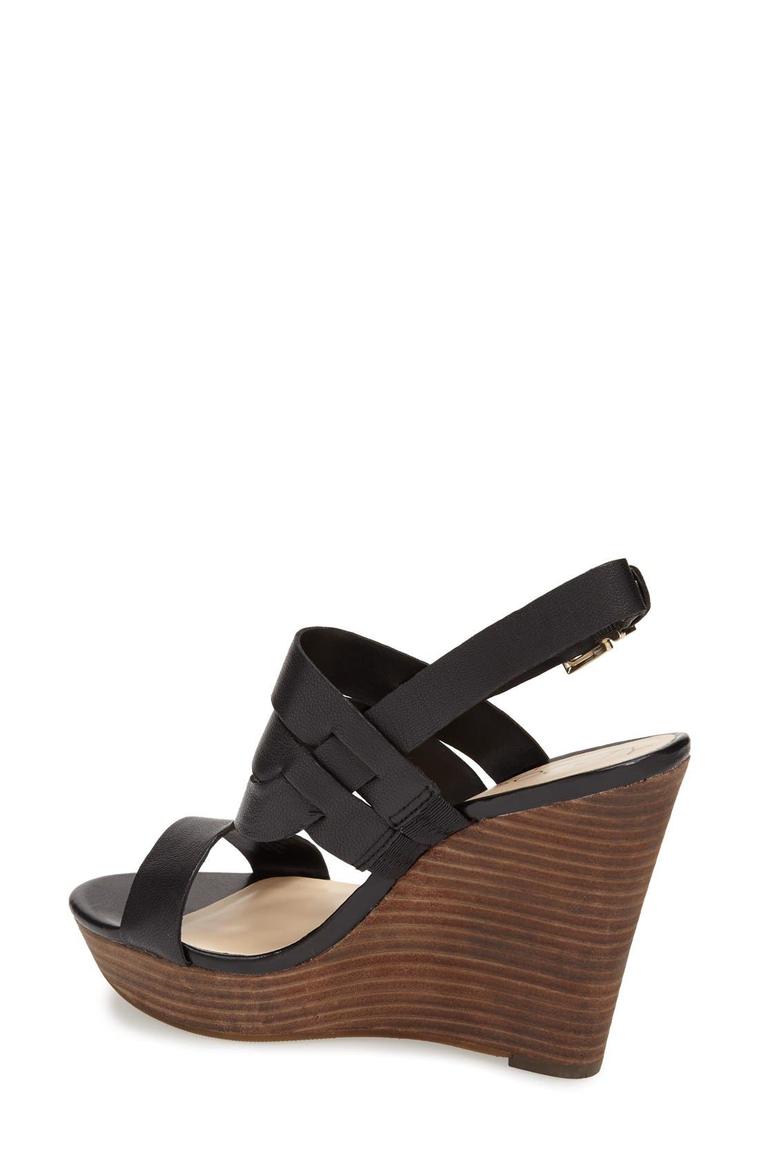 'Jenny' Slingback Wedge Sandal,                             Alternate thumbnail 2, color,                             001