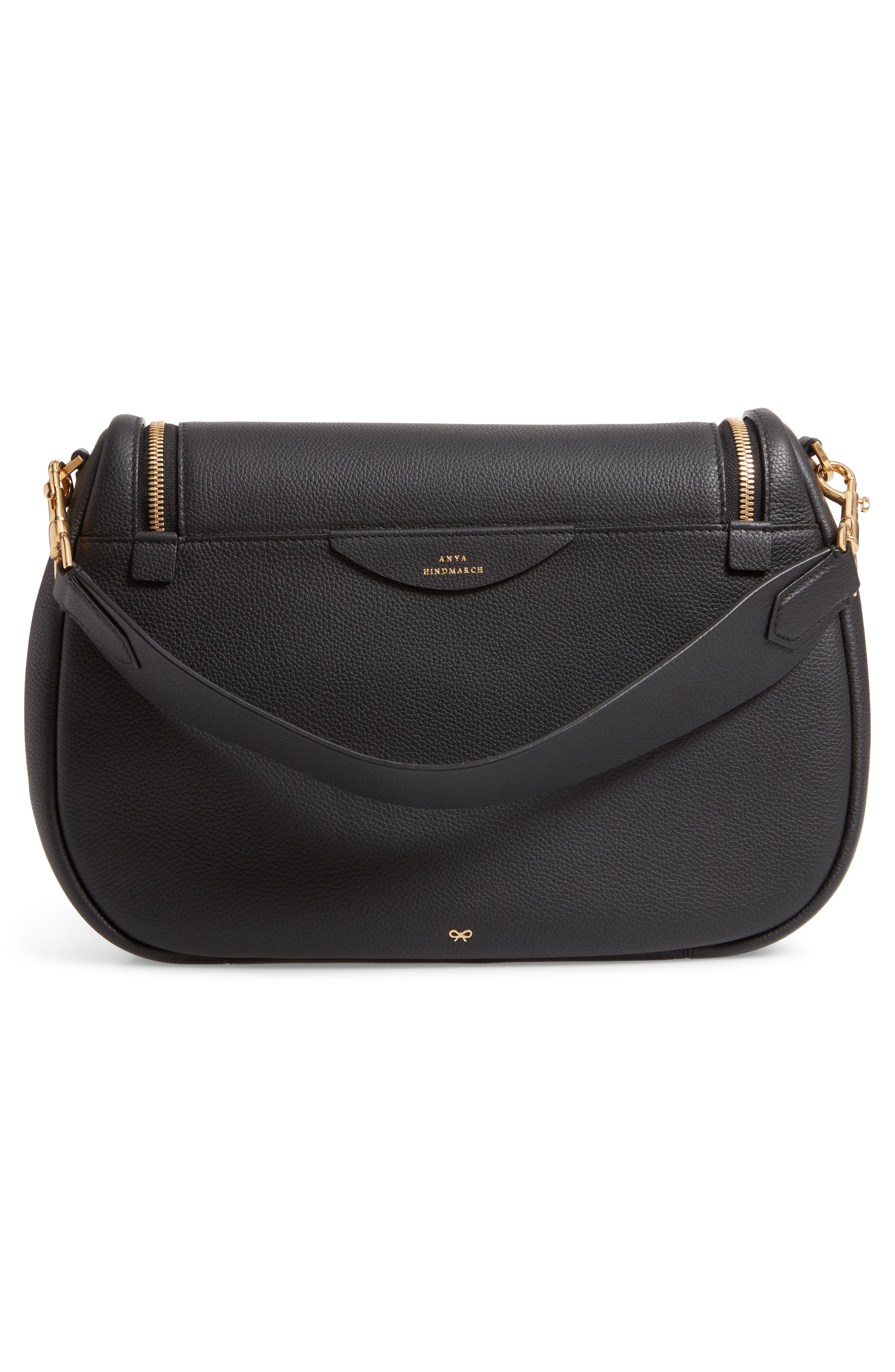 Maxi Vere Soft Satchel Shoulder Bag,                             Alternate thumbnail 4, color,                             BLACK