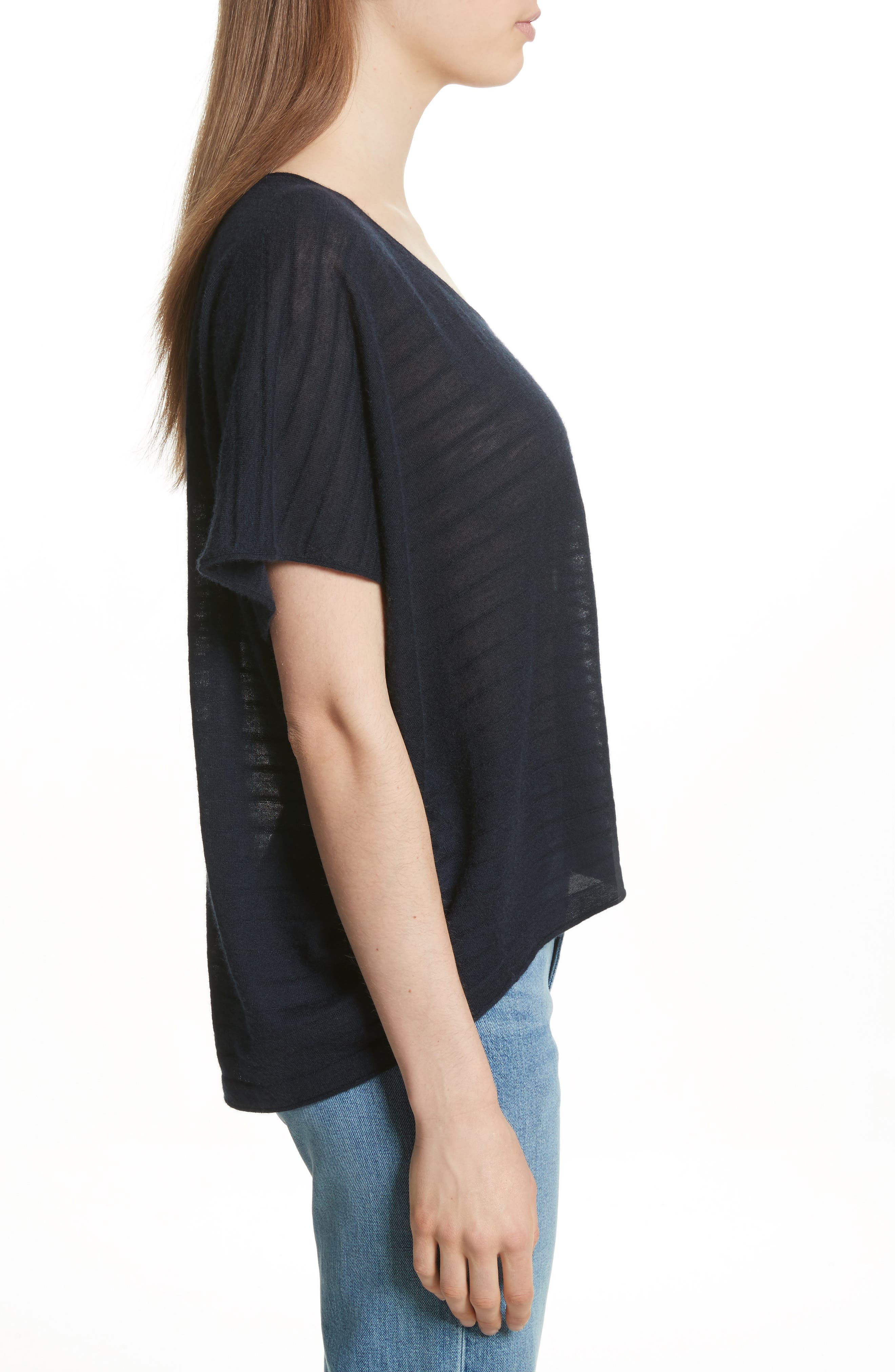 VINCE,                             Textured Stripe Wool & Cashmere Tee,                             Alternate thumbnail 3, color,                             403