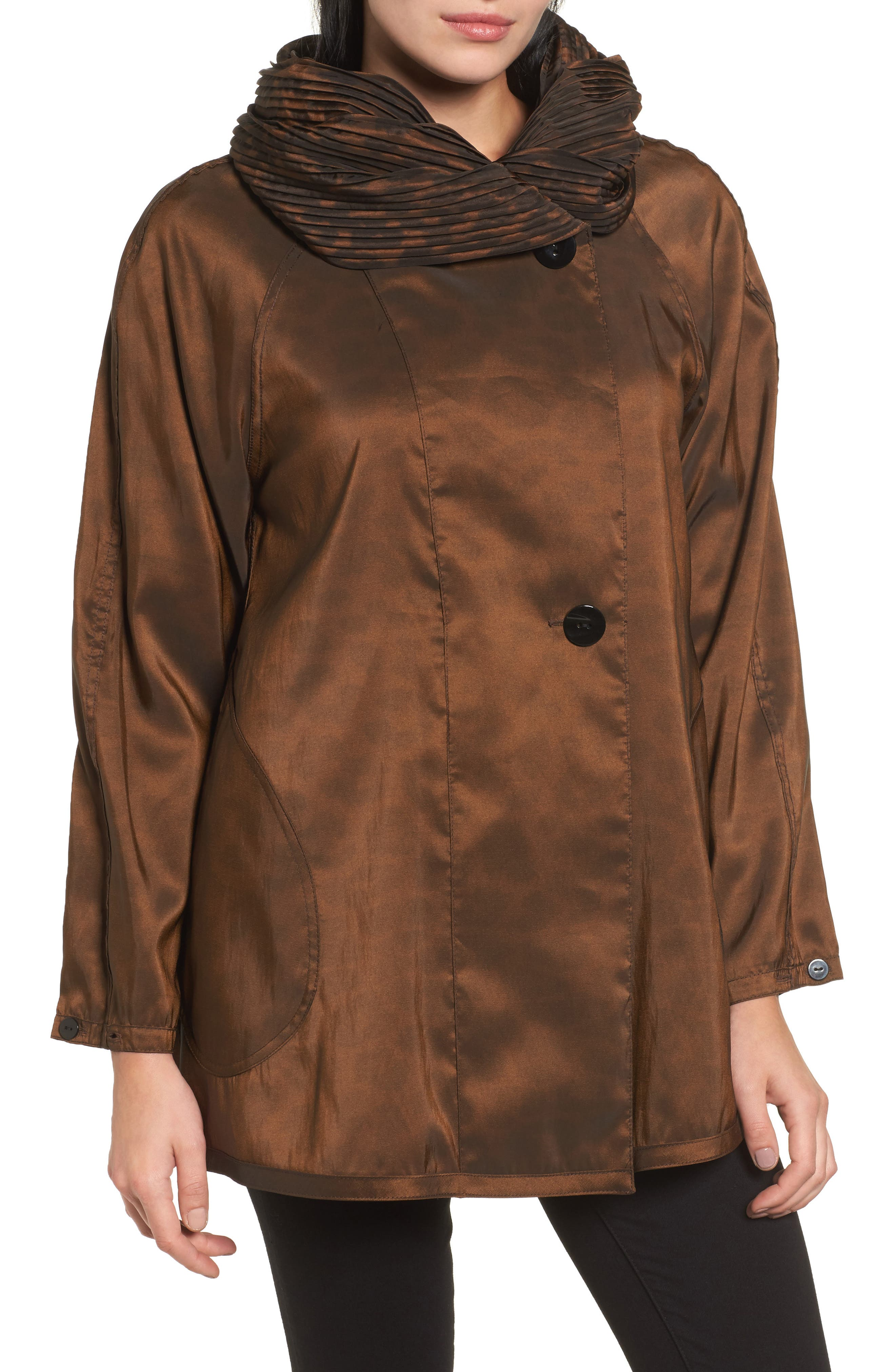 'Mini Donatella Leopard' Reversible Pleat Hood Packable Travel Coat,                             Alternate thumbnail 4, color,                             202