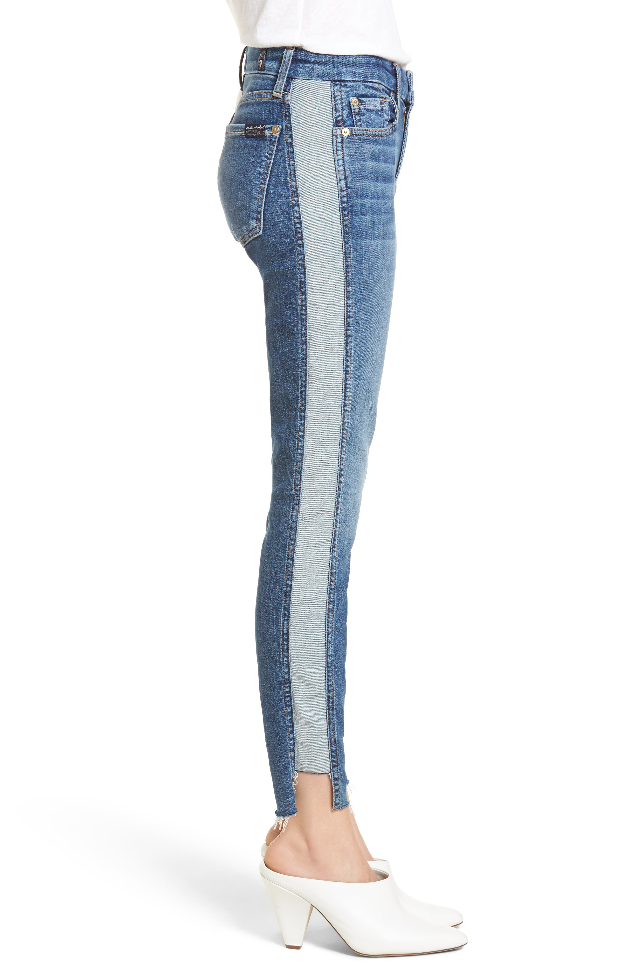 Side Panel Inset Ankle Skinny Jeans,                             Alternate thumbnail 3, color,                             400