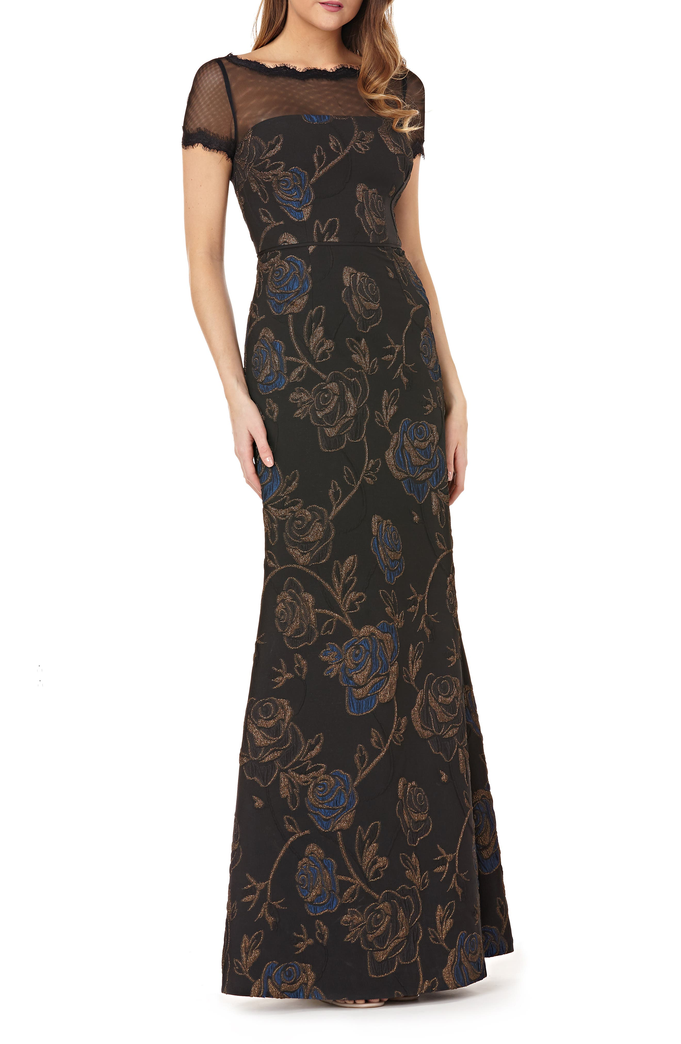 JS COLLECTIONS Boat-Neck Short-Sleeve Floral Matelasse Illusion Gown W/ Eyelash Trim in Black/Blue