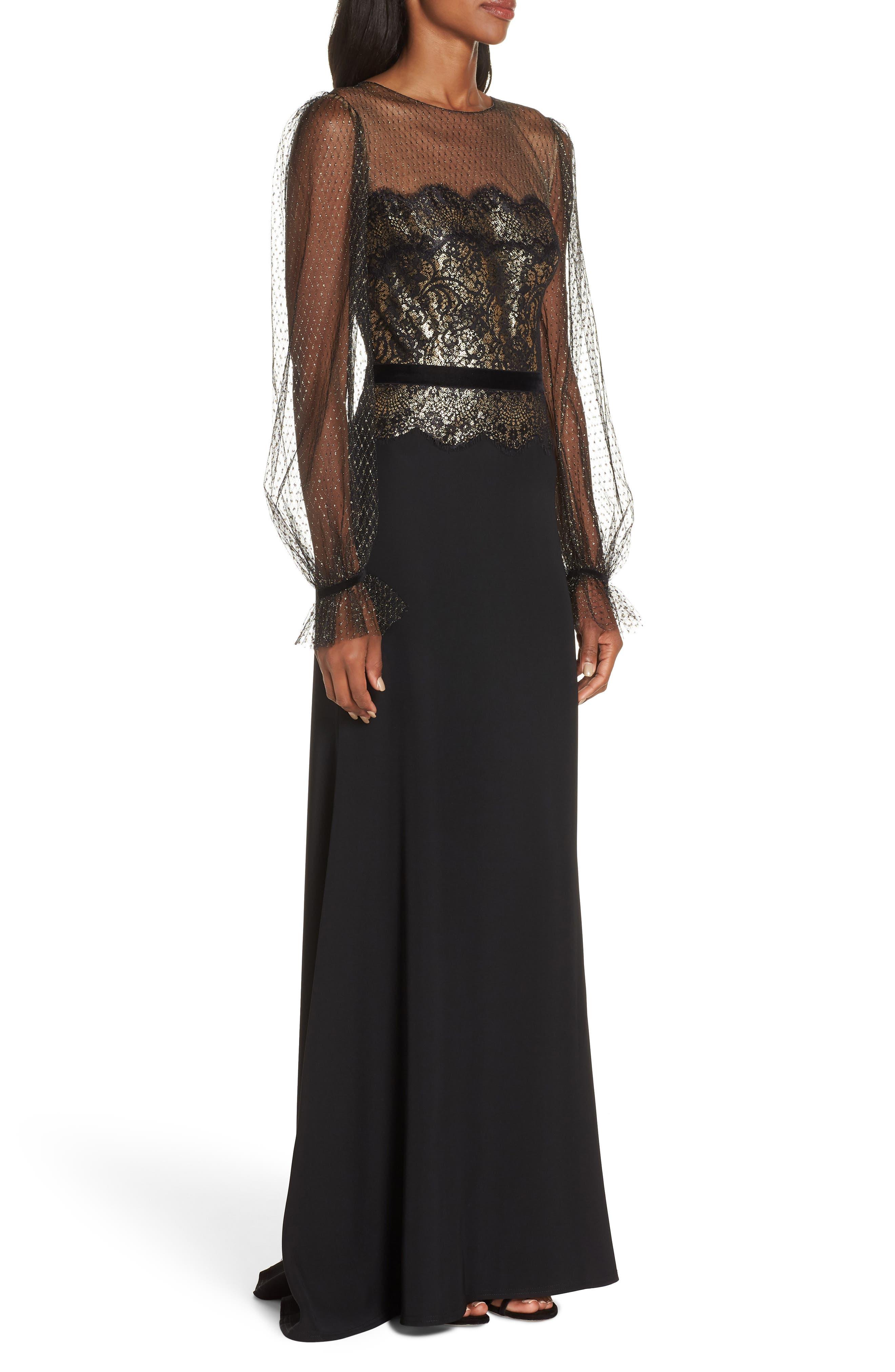 Crepe & Sequin Gown,                             Alternate thumbnail 3, color,                             BLACK/ GOLD