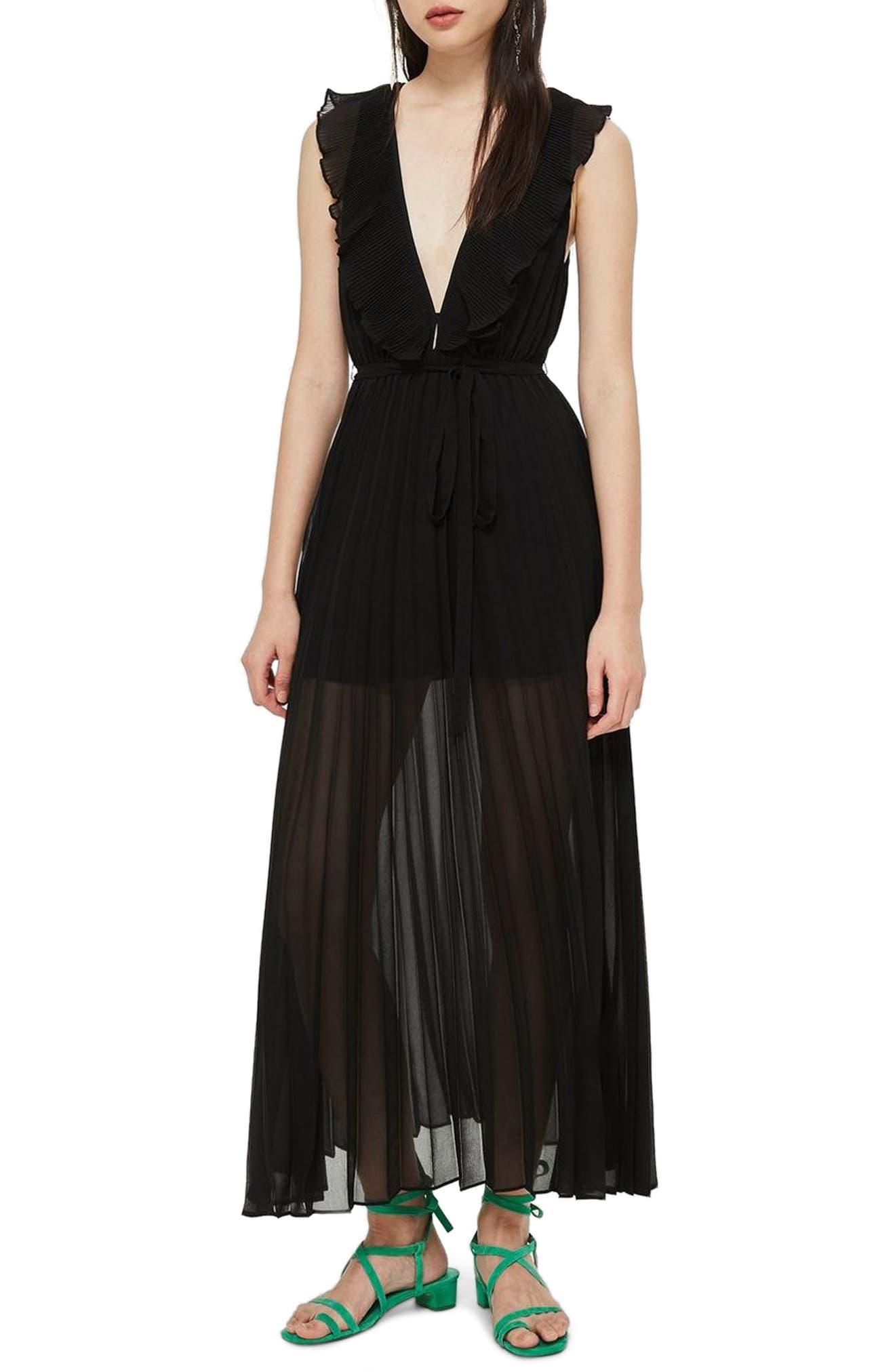 Pleated Plunge Chiffon Maxi Dress,                         Main,                         color, BLACK