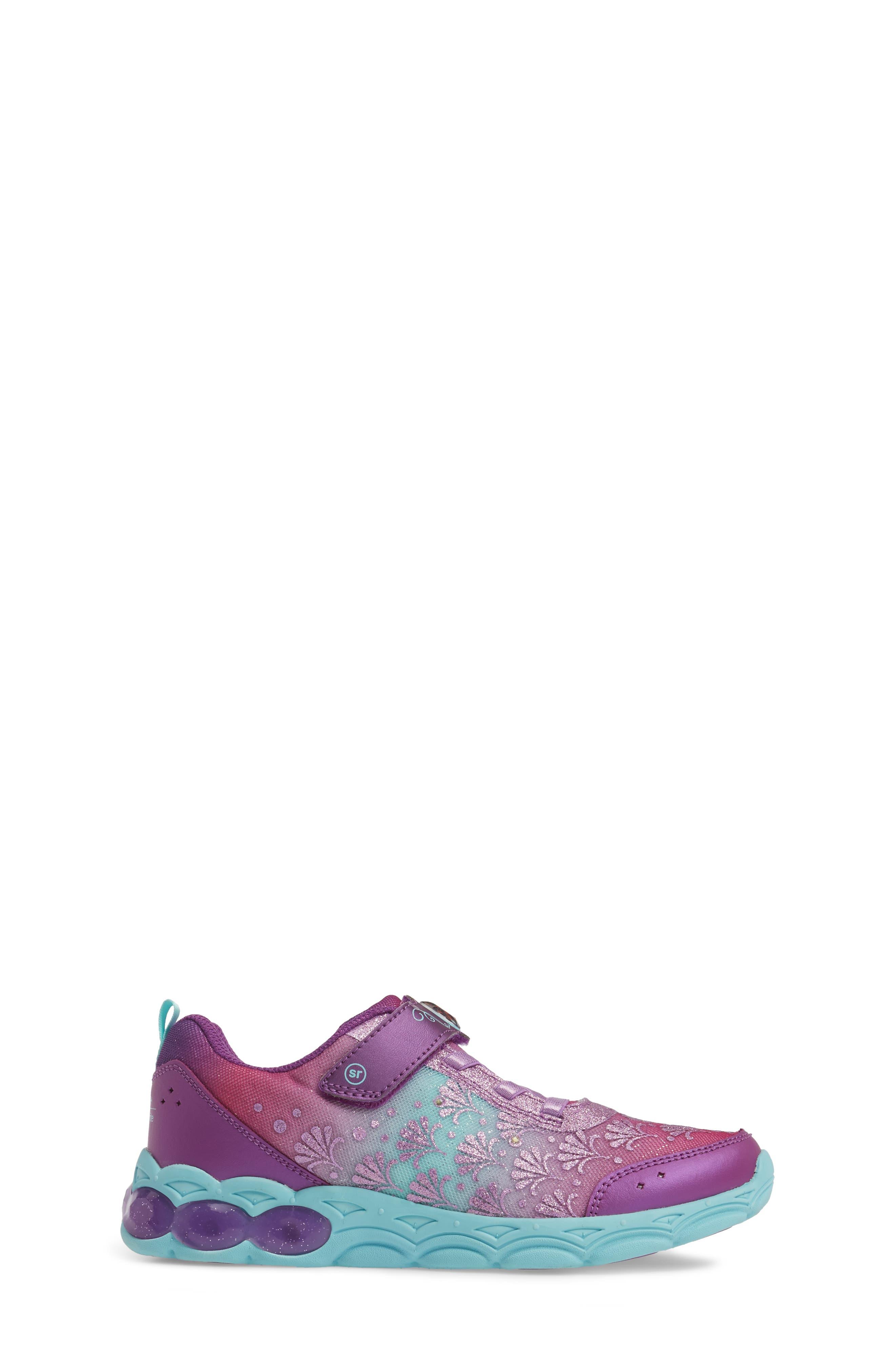 Disney<sup>®</sup> Ariel Ocean Adventurer Light-Up Sneaker,                             Alternate thumbnail 3, color,                             650