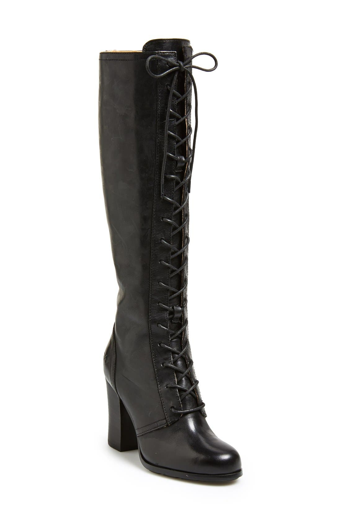 'Parker' Lace-Up Tall Boot,                             Main thumbnail 1, color,                             001