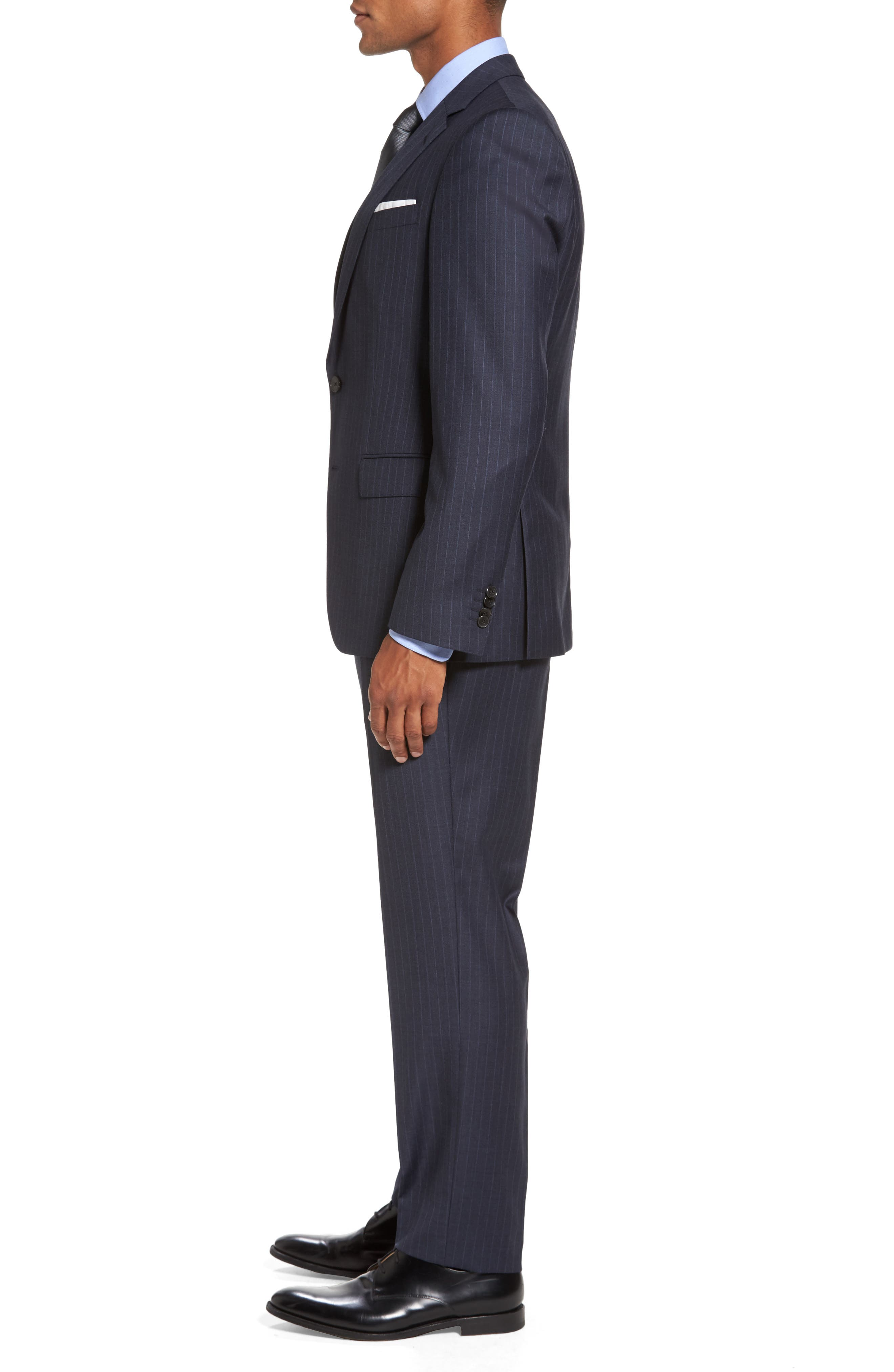 Huge/Genius Trim Fit Stripe Wool Suit,                             Alternate thumbnail 3, color,                             410