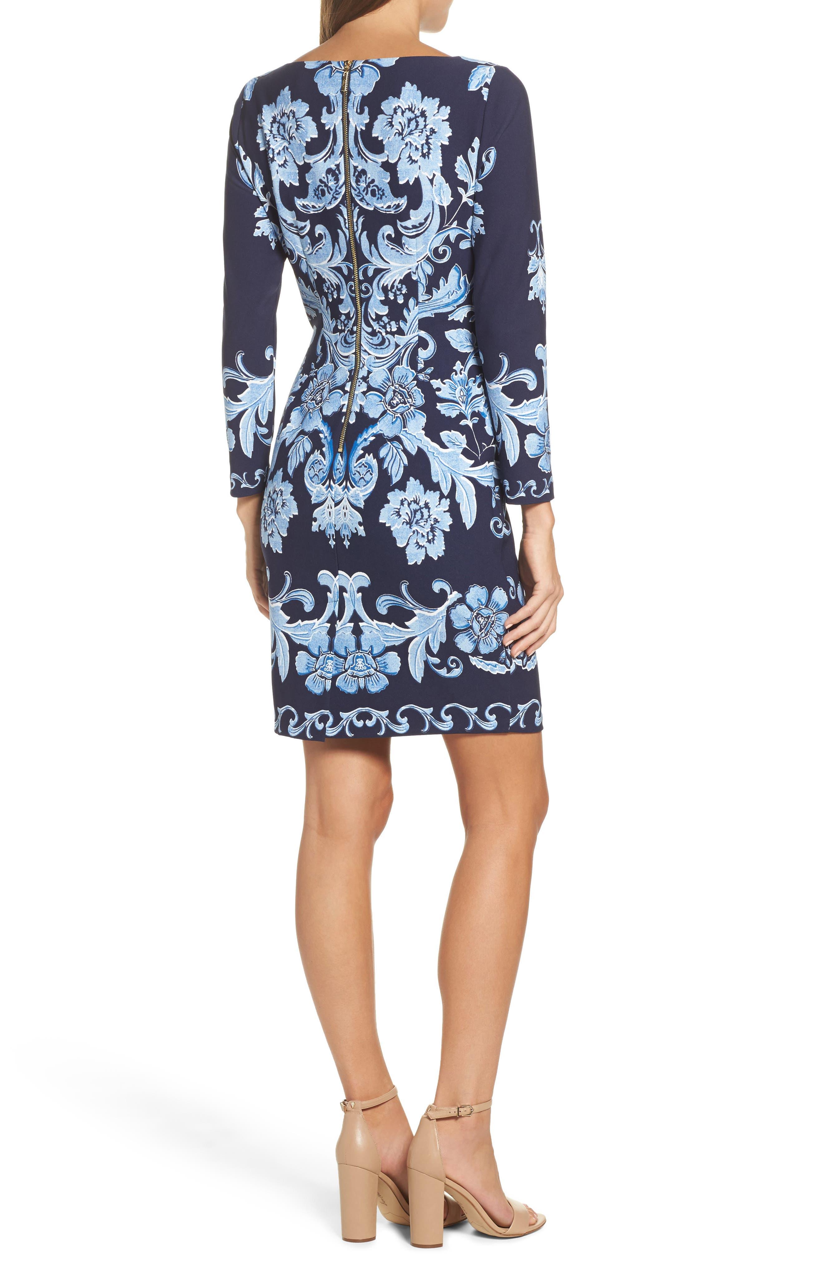 Crepe Sheath Dress,                             Alternate thumbnail 2, color,                             410