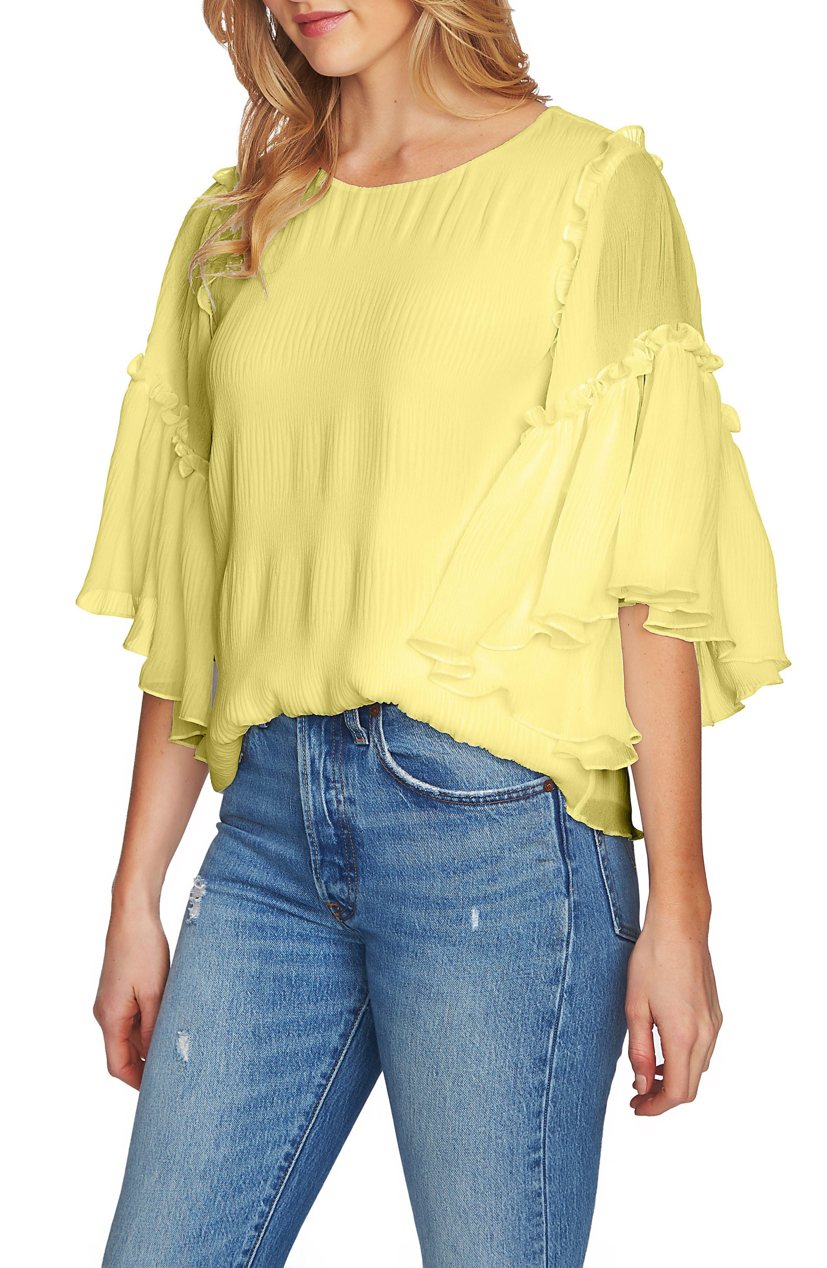 Flounce Sleeve Pleated Blouse,                         Main,                         color, SUNDEW