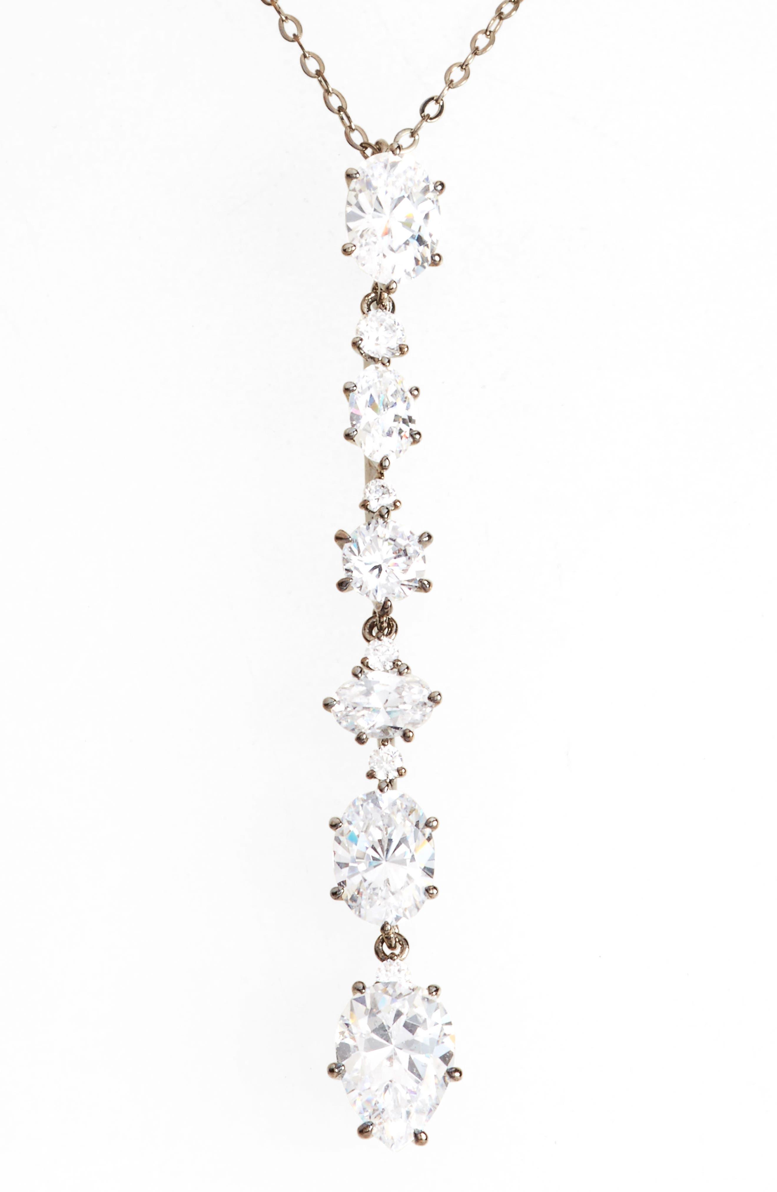 Cubic Zirconia Y-Necklace,                         Main,                         color,