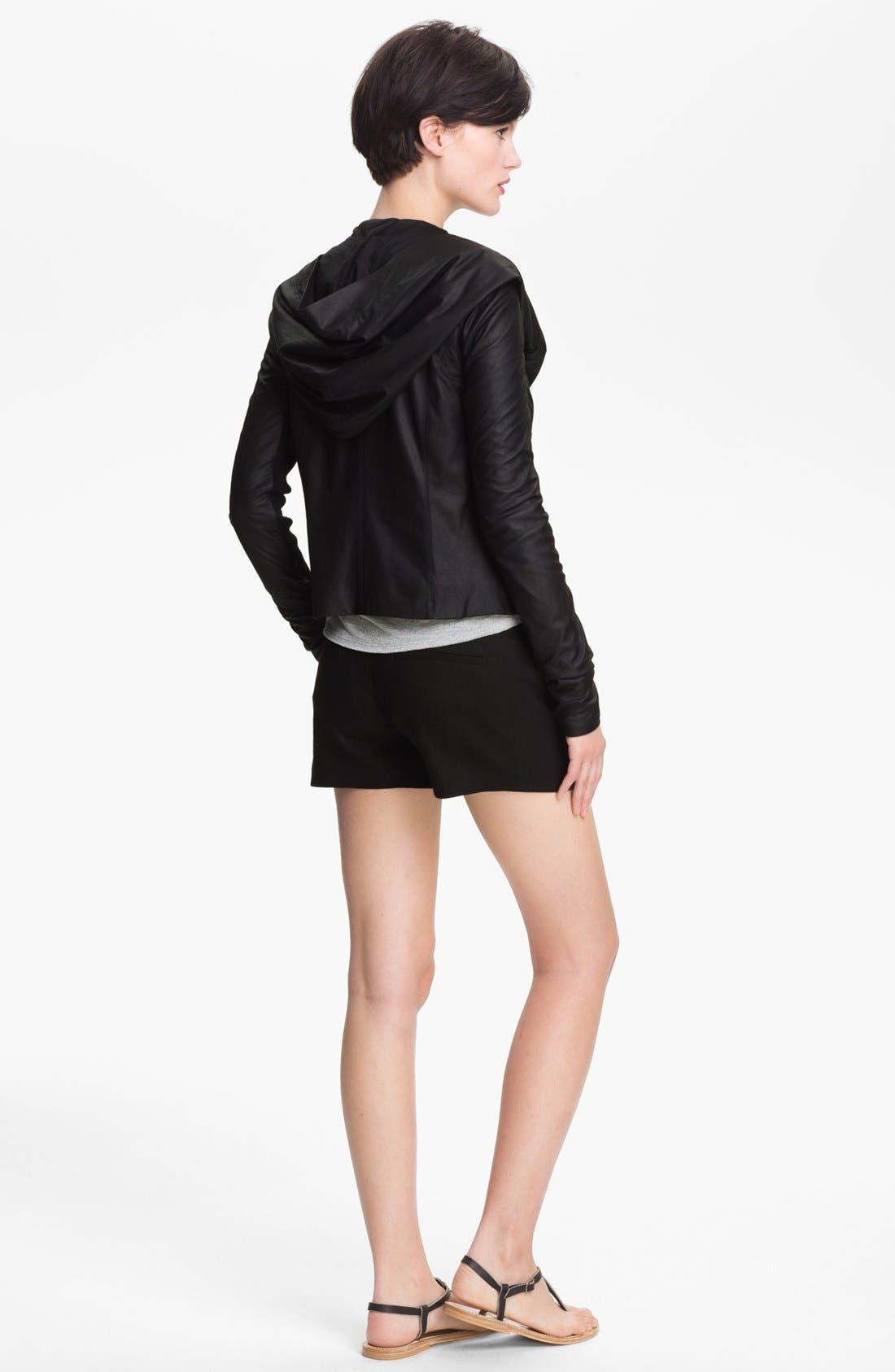 VINCE,                             Hooded Leather Jacket,                             Alternate thumbnail 3, color,                             001