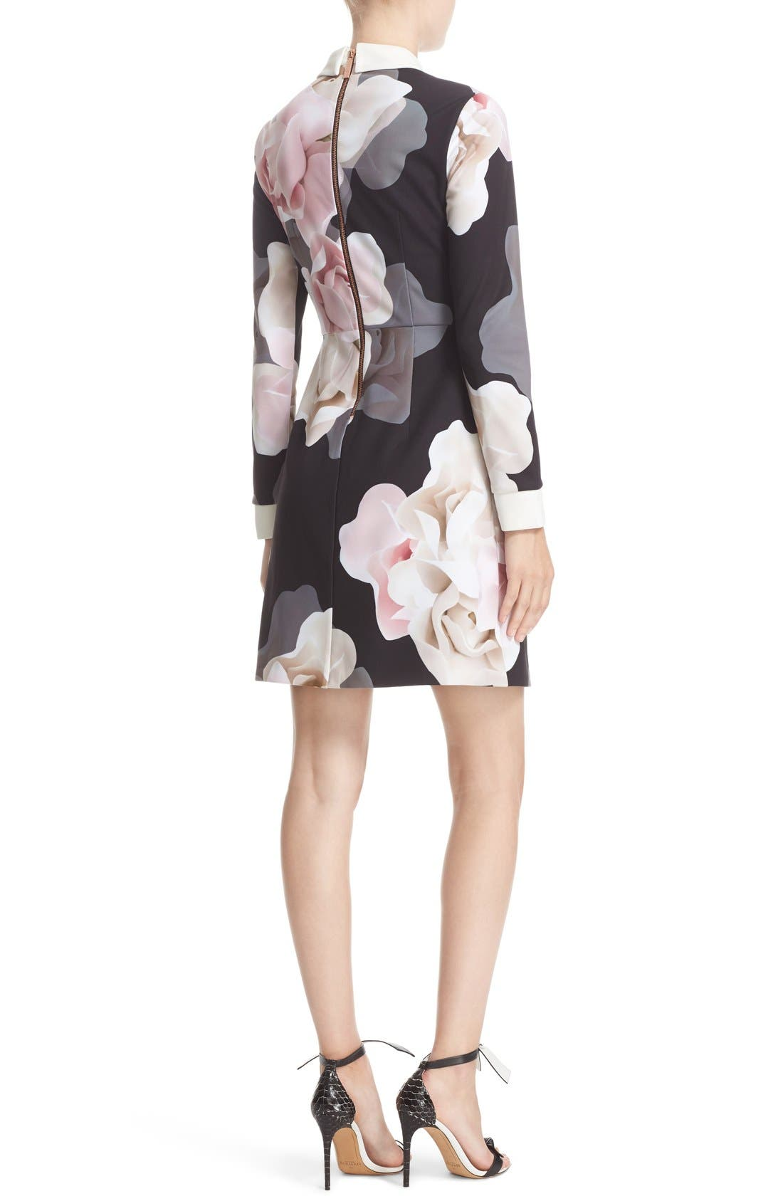 TED BAKER LONDON,                             Porcelain Rose Print Contrast Trim Fit & Flare Dress,                             Alternate thumbnail 3, color,                             001