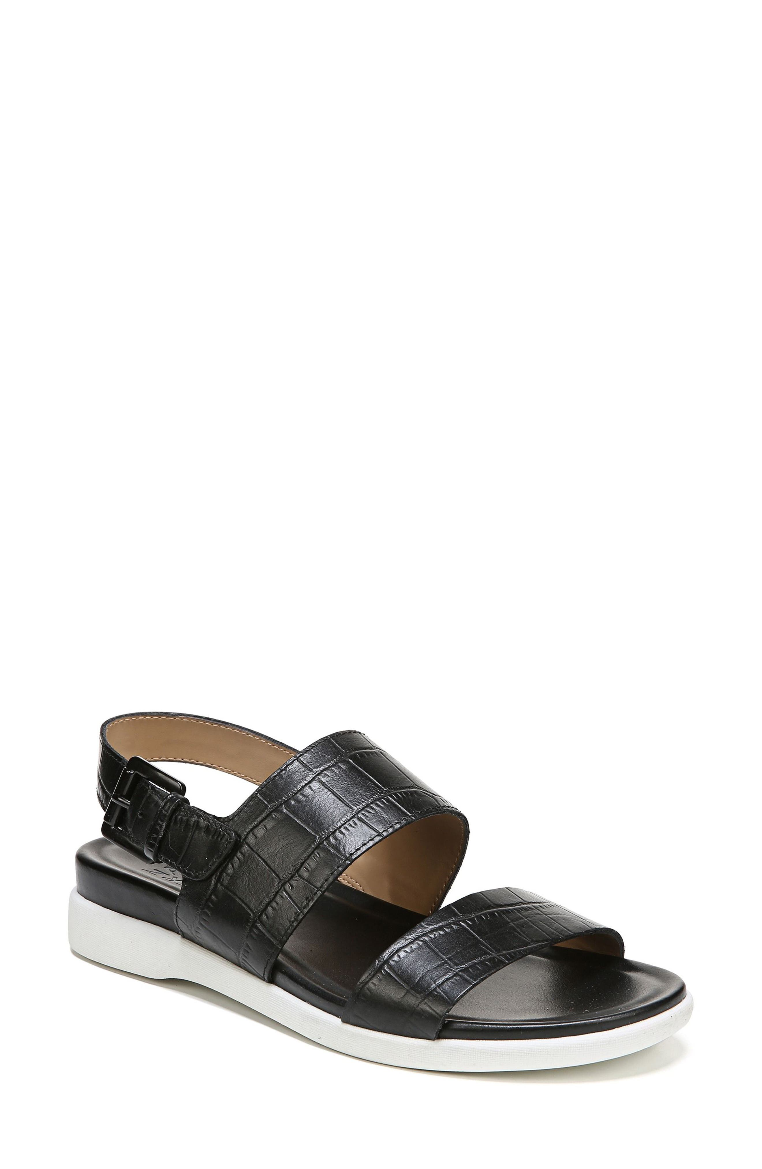 Emory Wedge Sandal,                             Main thumbnail 1, color,                             BLACK PRINTED LEATHER
