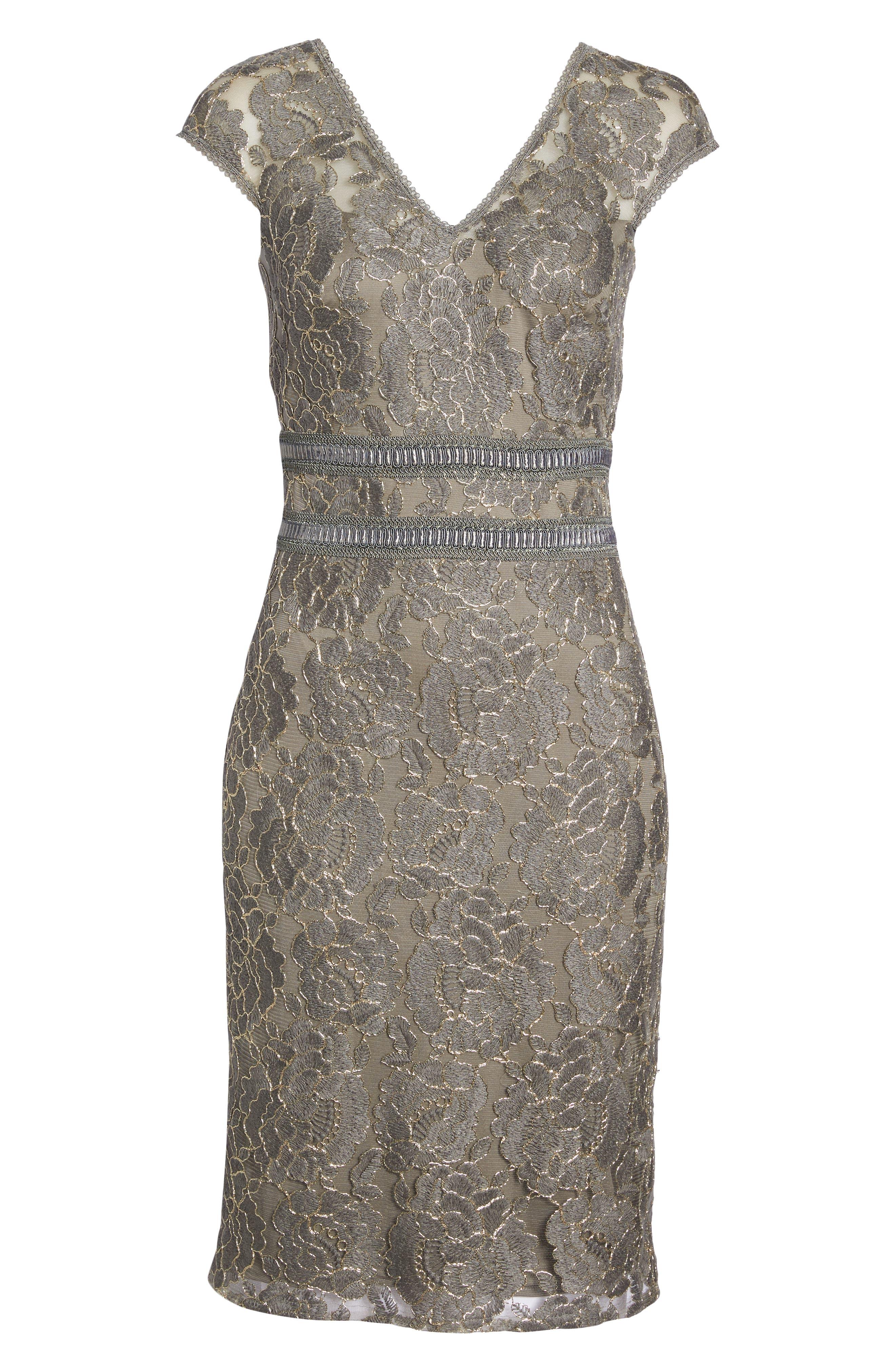 Lace Sheath Dress,                             Alternate thumbnail 7, color,                             020