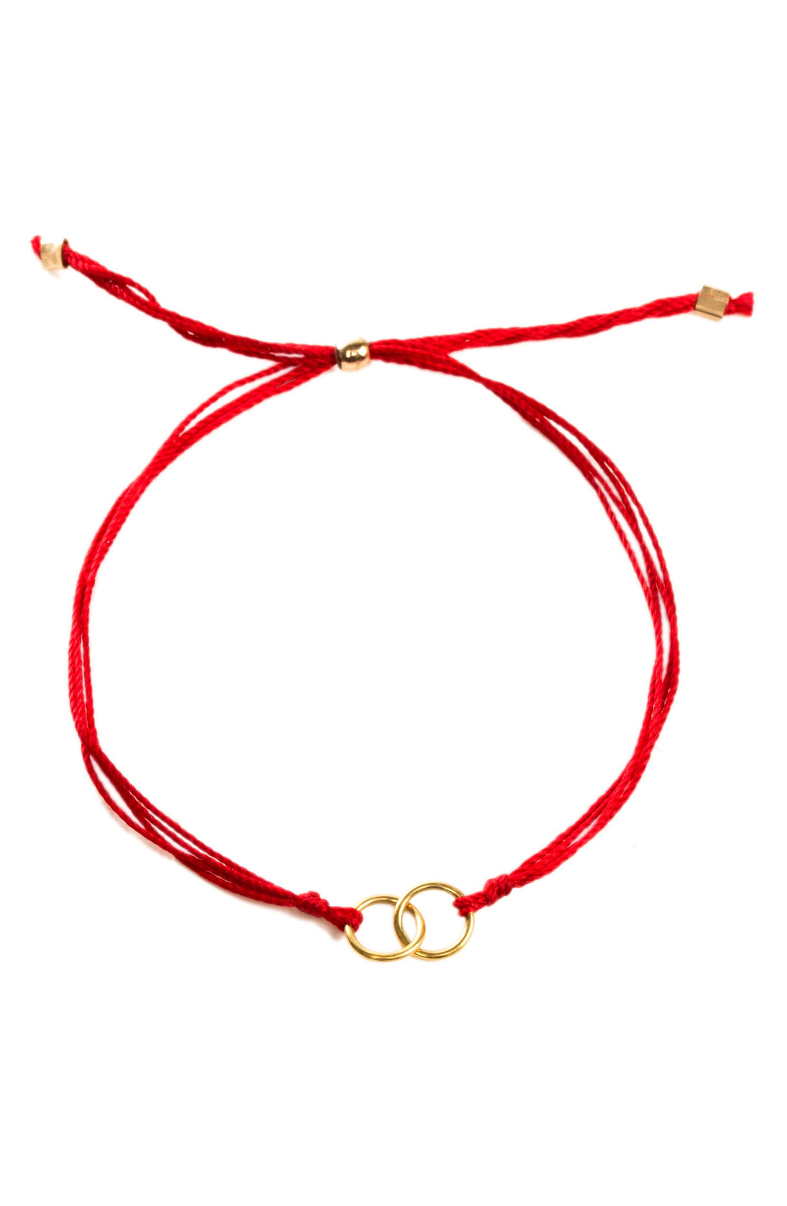 Double Linked Friendship Bracelet,                             Alternate thumbnail 2, color,                             RED / GOLD