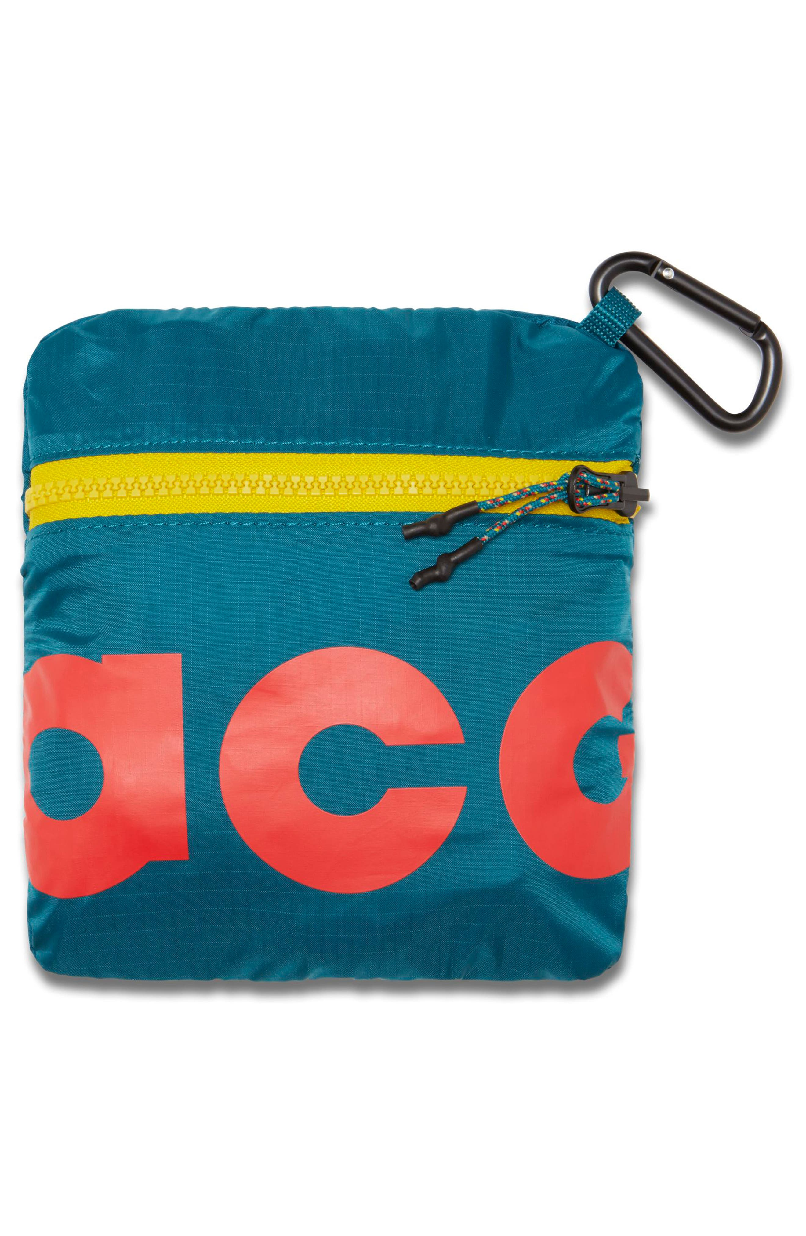 Packable Duffel Bag,                             Alternate thumbnail 5, color,                             GEODE TEAL/ HABANERO RED