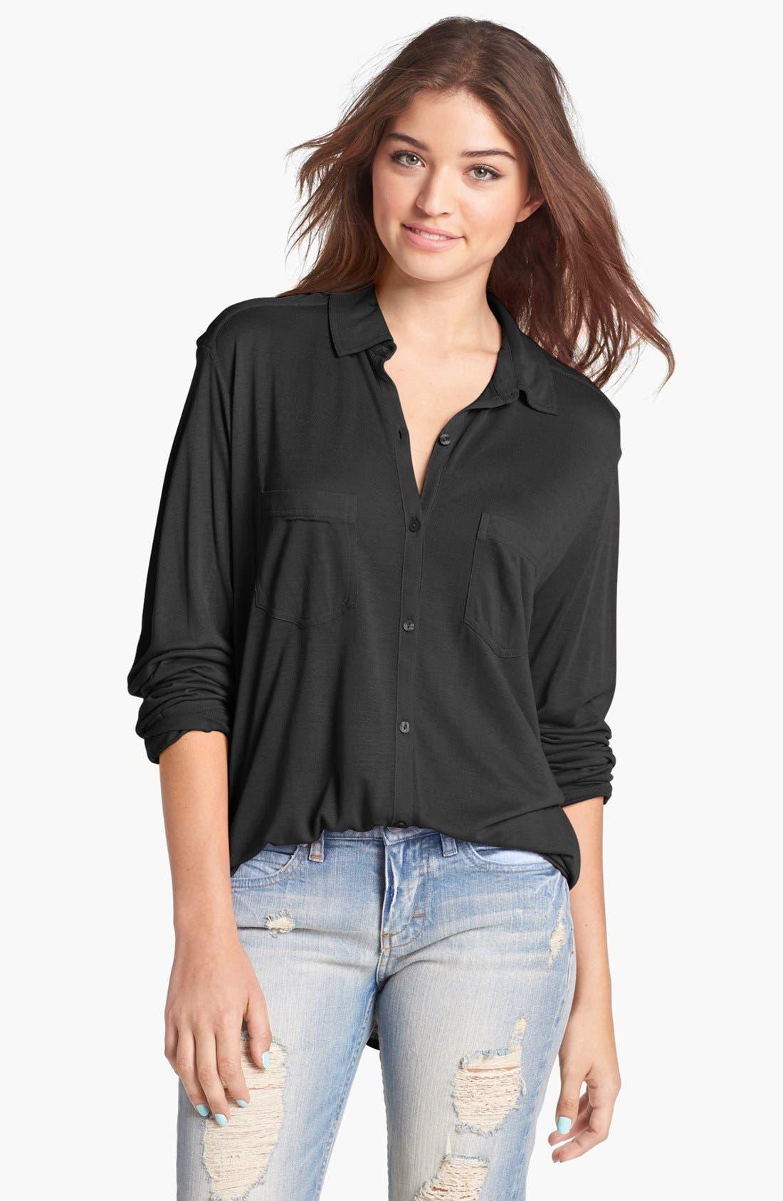 Knit Button Front Shirt,                         Main,                         color, 001
