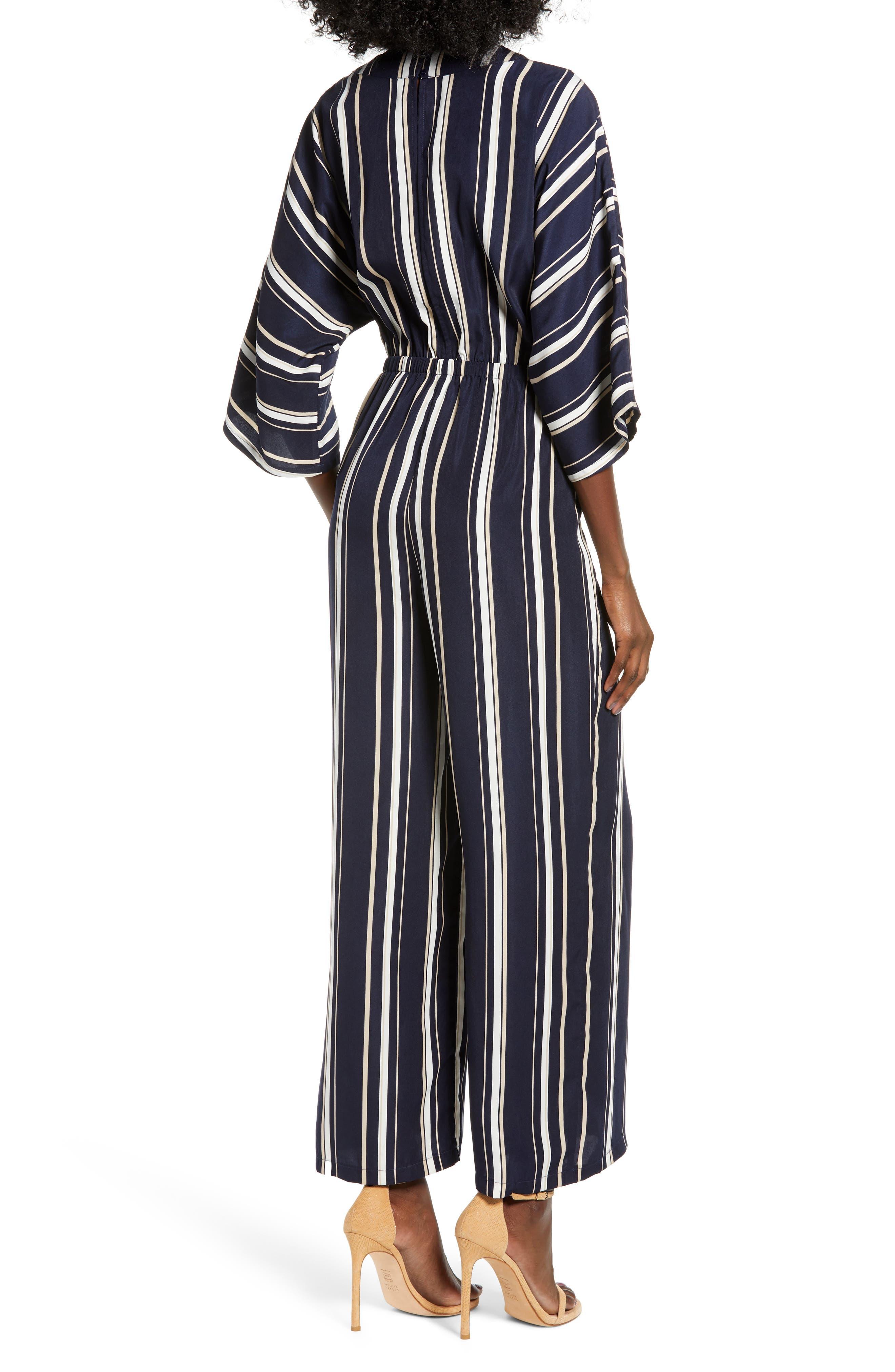 Crossover Stripe Jumpsuit,                             Alternate thumbnail 2, color,                             400