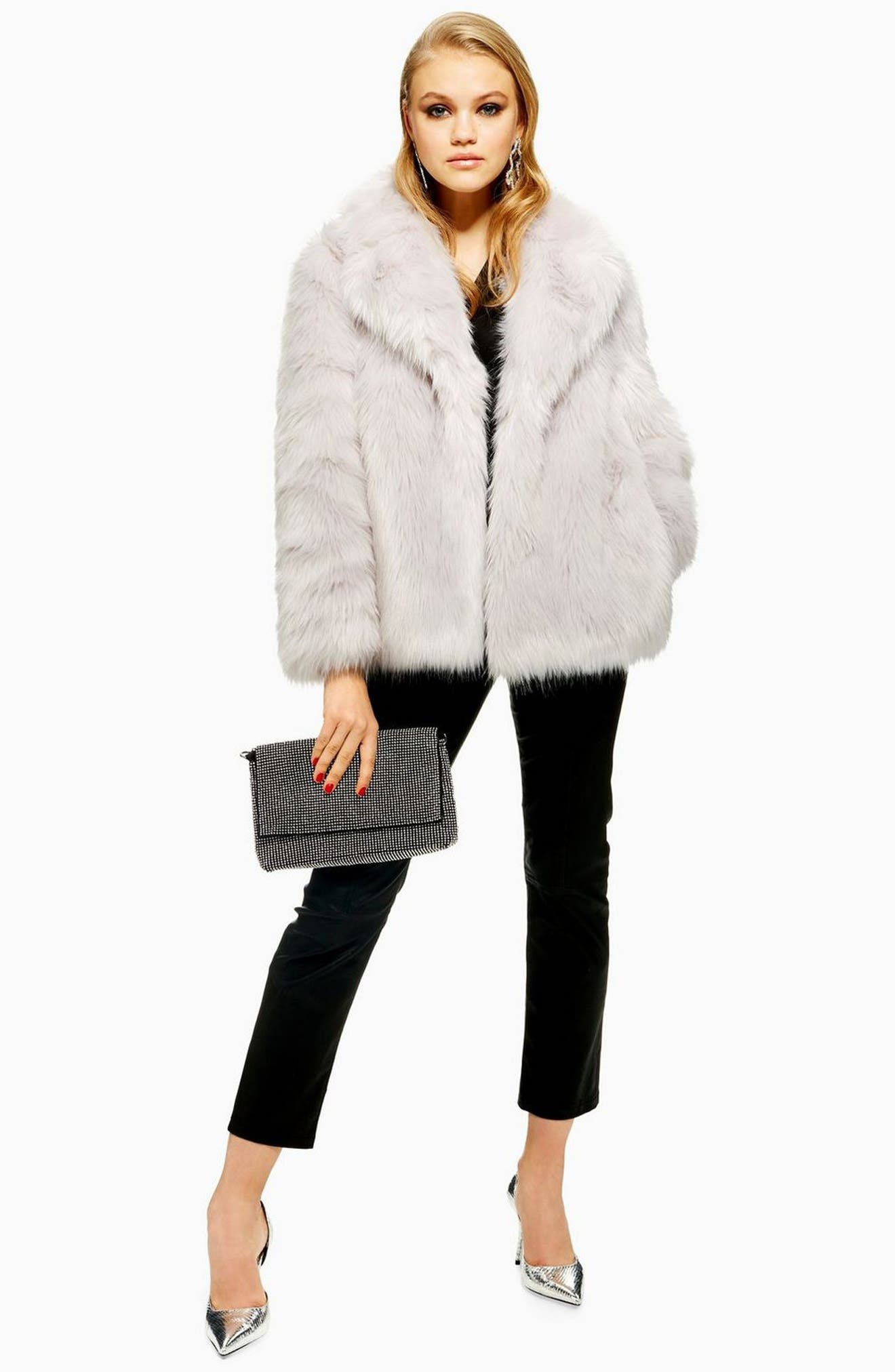 Camille Faux Fur Coat,                             Alternate thumbnail 4, color,                             LIGHT GREY