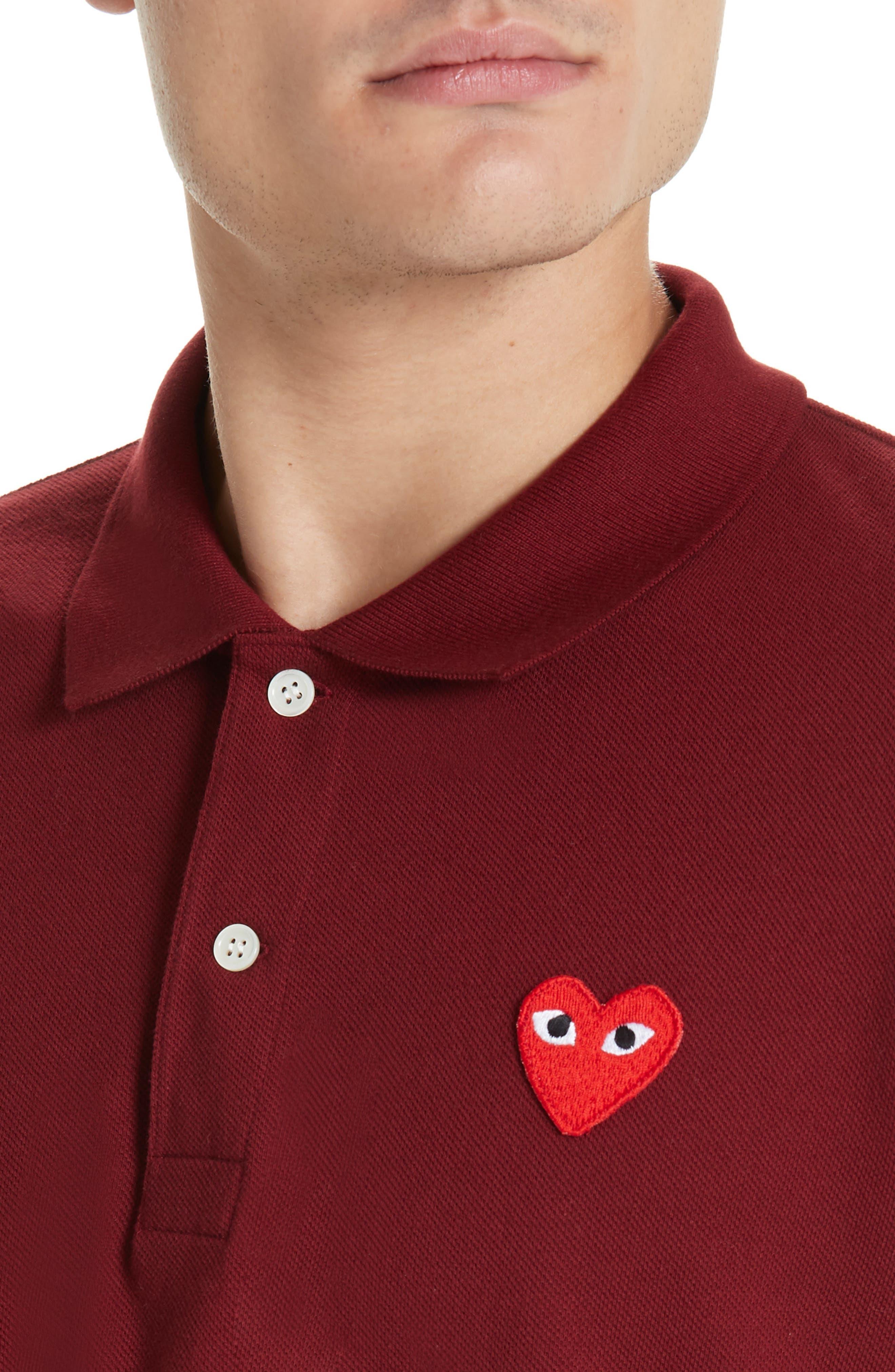 Comme des Garçons PLAY Heart Logo Polo,                             Alternate thumbnail 4, color,                             BURGUNDY