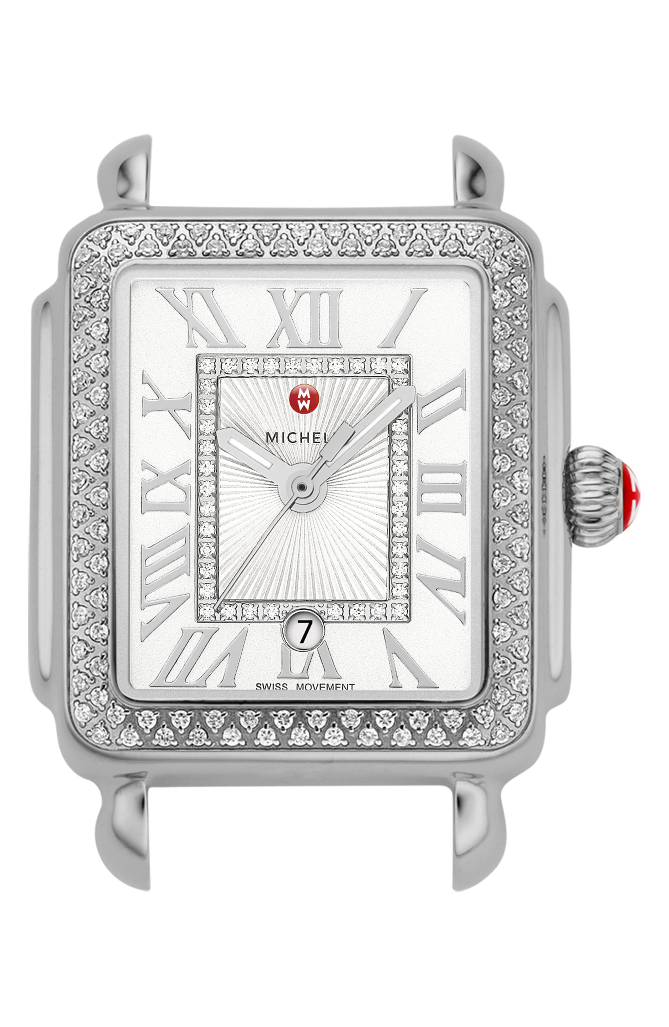 Deco Madison Mid Diamond Dial Watch Head, 29mm x 31mm,                             Main thumbnail 1, color,                             SILVER/ WHITE