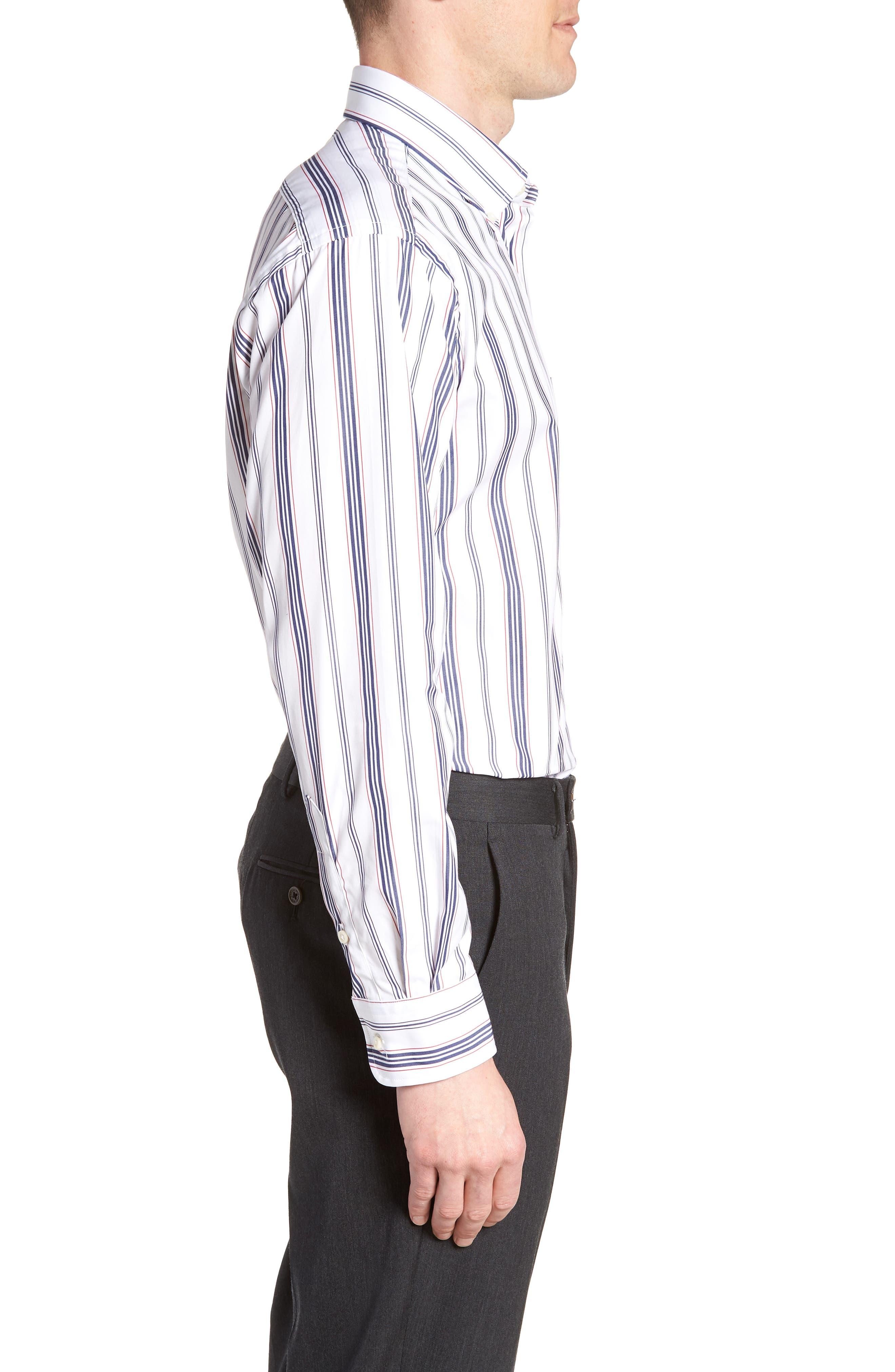 Tailored Fit Stripe Dress Shirt,                             Alternate thumbnail 4, color,                             WHITE/ BLUE
