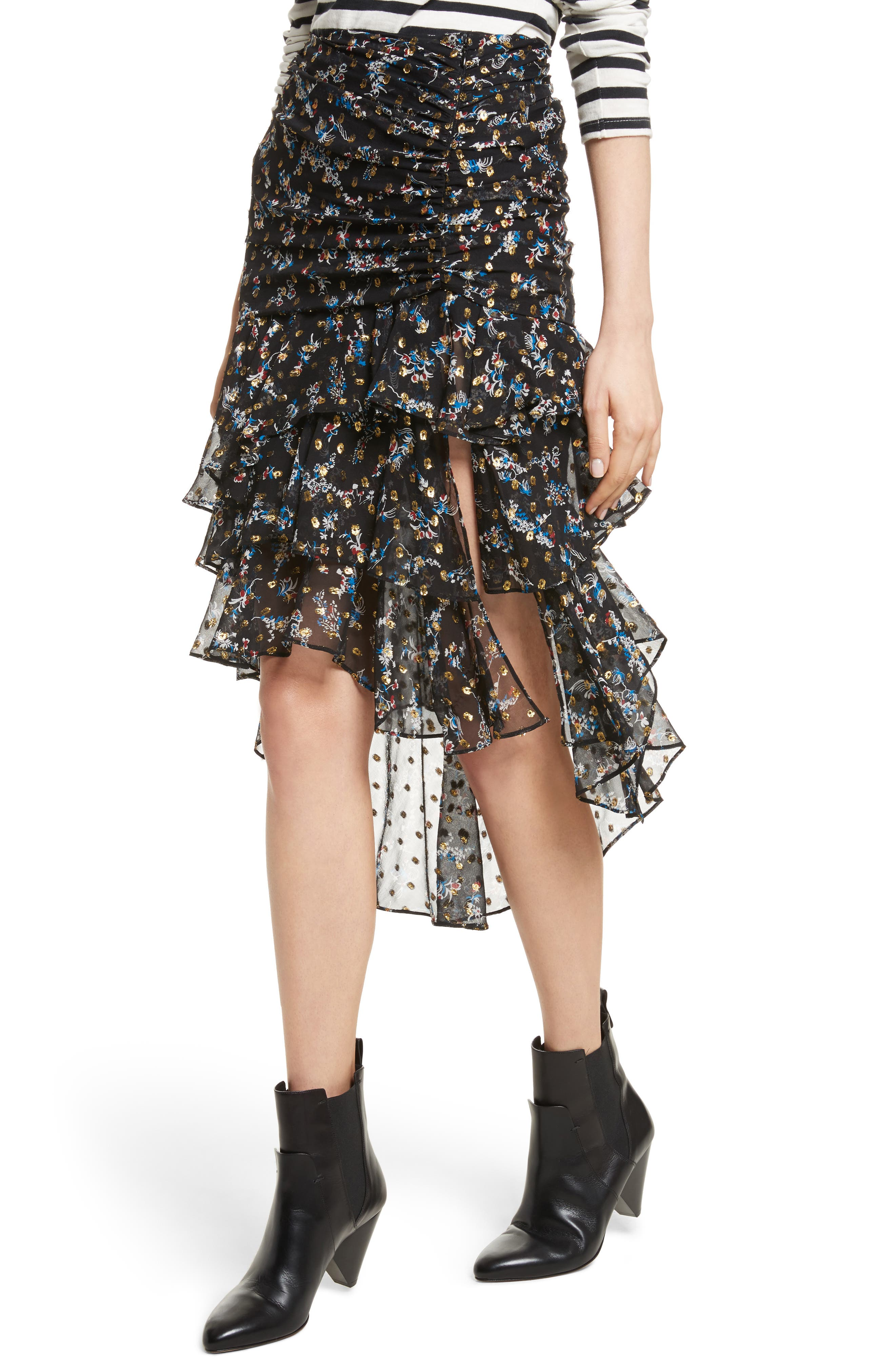 Cella Metallic Floral Print Midi Skirt,                             Alternate thumbnail 4, color,                             008