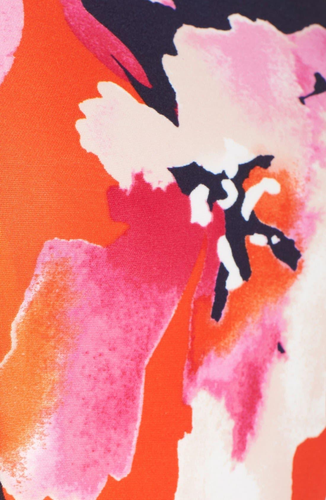 Floral Scuba Sheath Dress,                             Alternate thumbnail 5, color,                             650