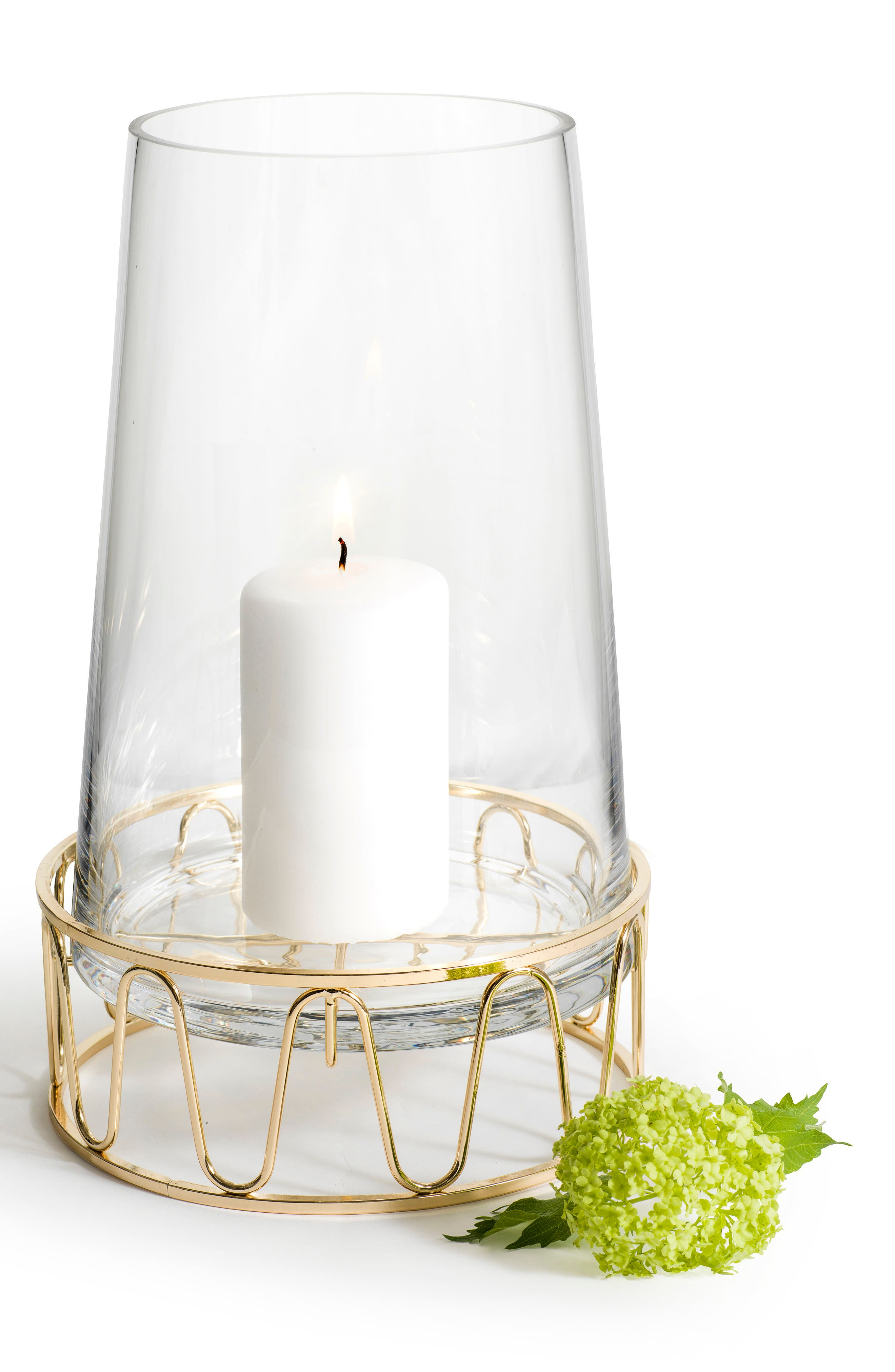 SAGAFORM Wavy Base Candle Holder, Main, color, CLEAR