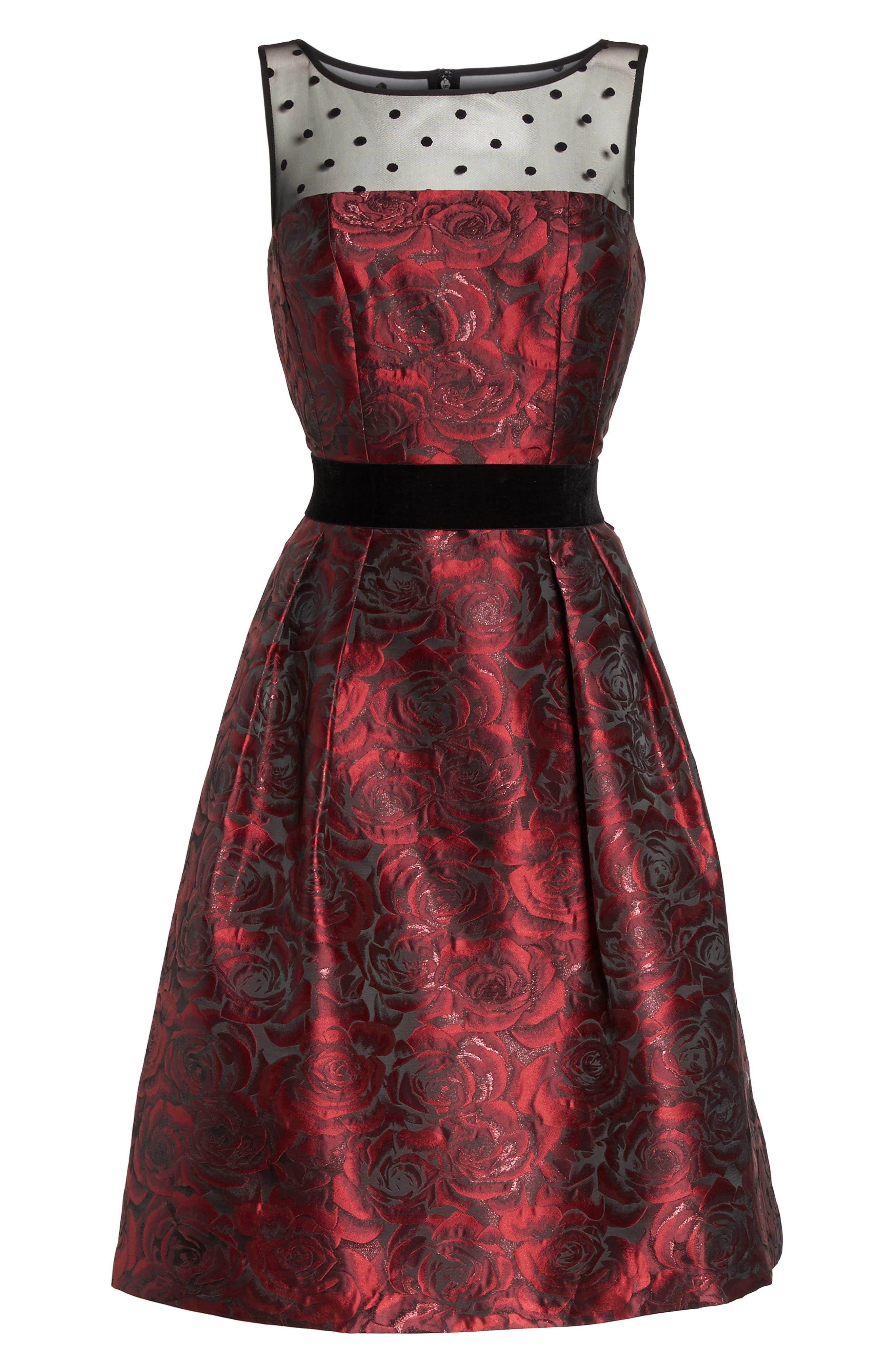 Jacquard Fit & Flare Dress,                             Alternate thumbnail 6, color,                             614