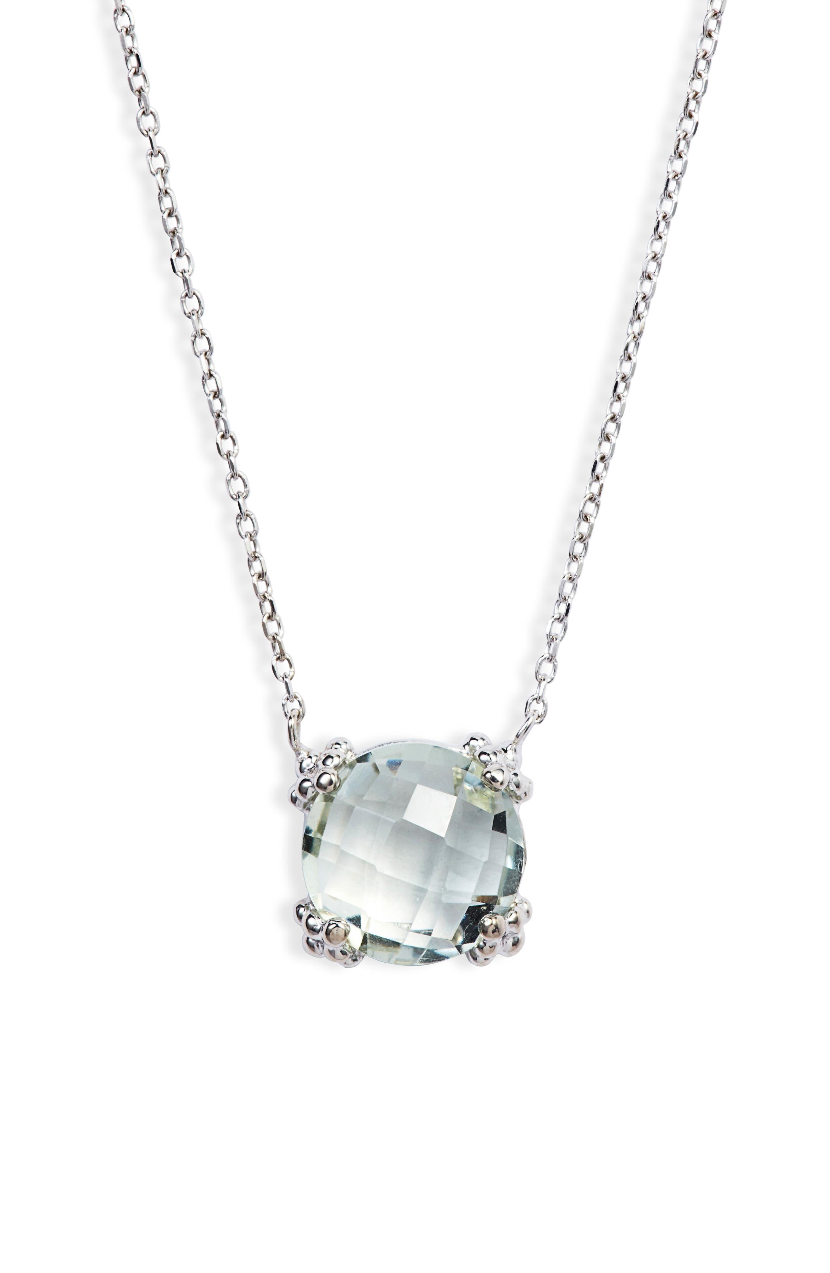 Dew Drop Cluster Topaz Pendant Necklace,                             Main thumbnail 1, color,                             GREEN AMETHYST