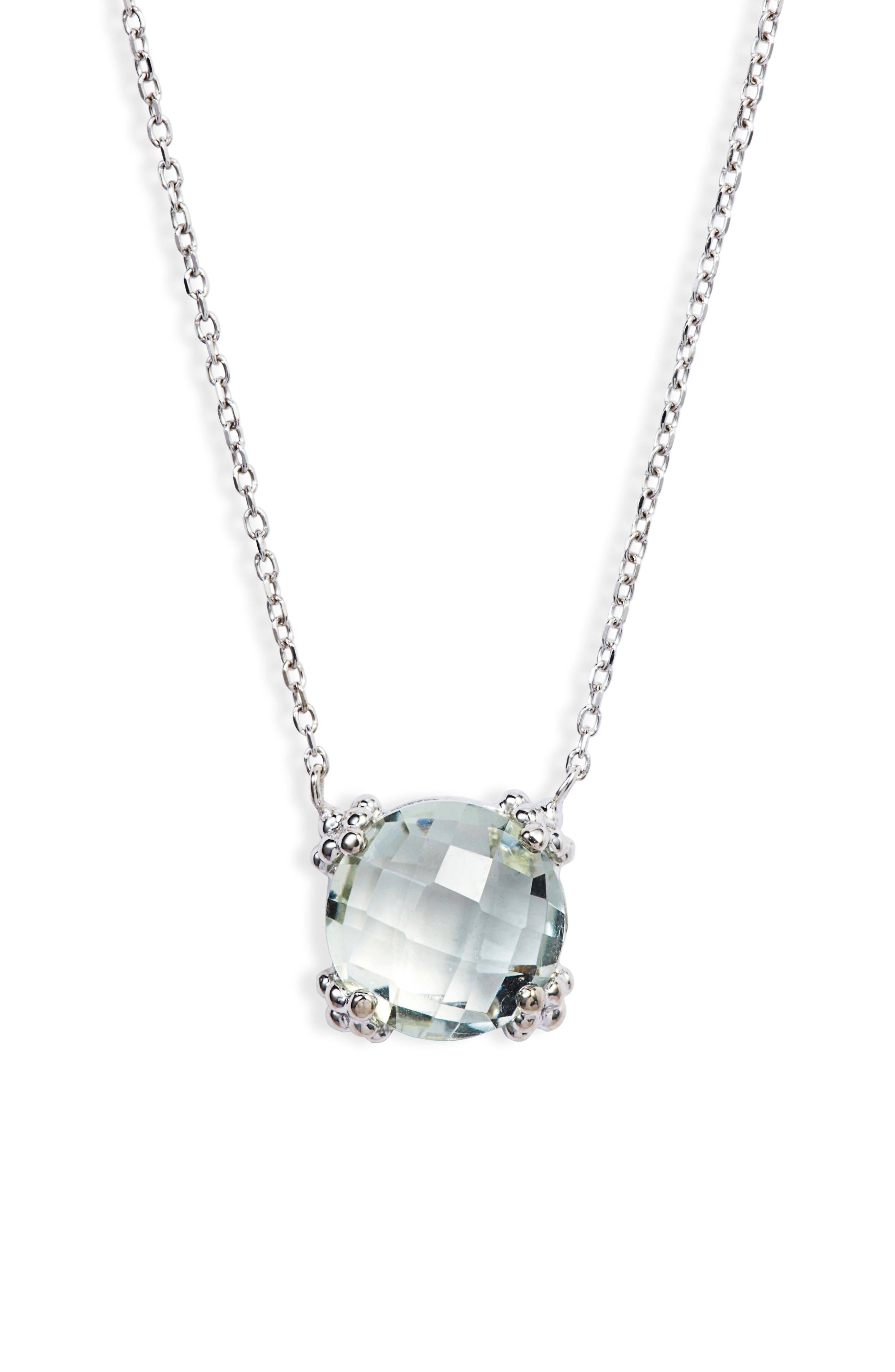 Dew Drop Cluster Topaz Pendant Necklace,                         Main,                         color, GREEN AMETHYST