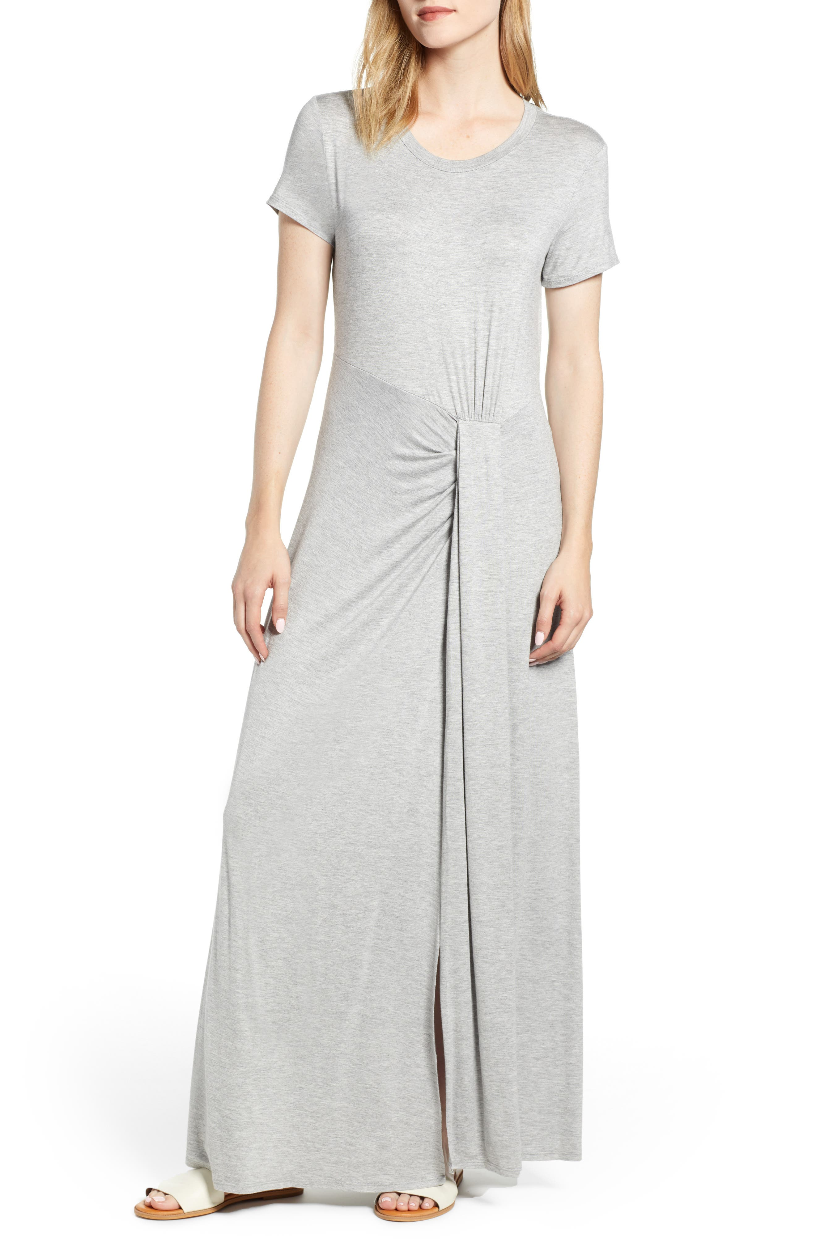 CASLON<SUP>®</SUP> Front Gathered Maxi Dress, Main, color, GREY HEATHER