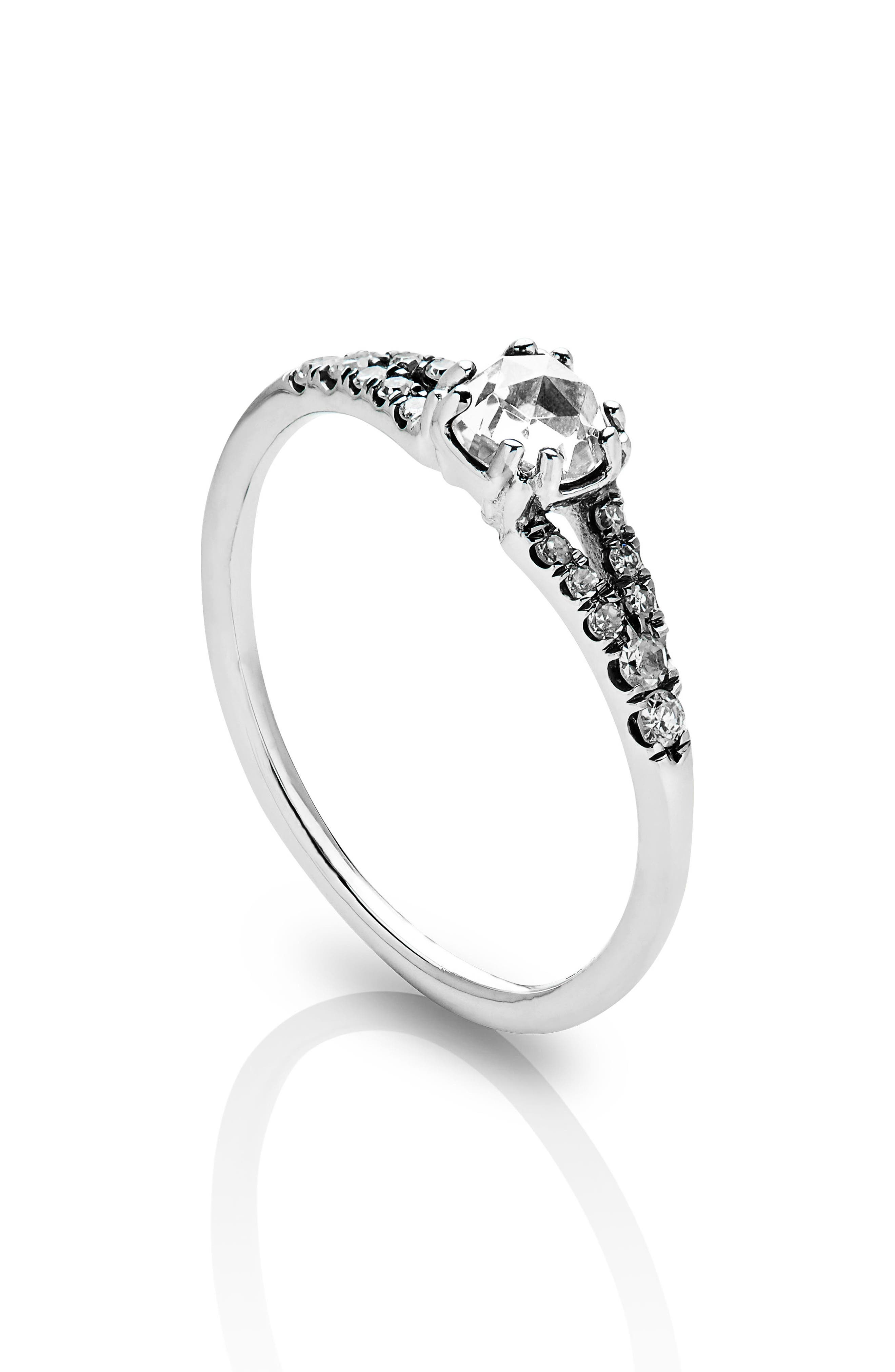 Devotion Solitaire Diamond Ring,                             Alternate thumbnail 2, color,                             WHITE GOLD