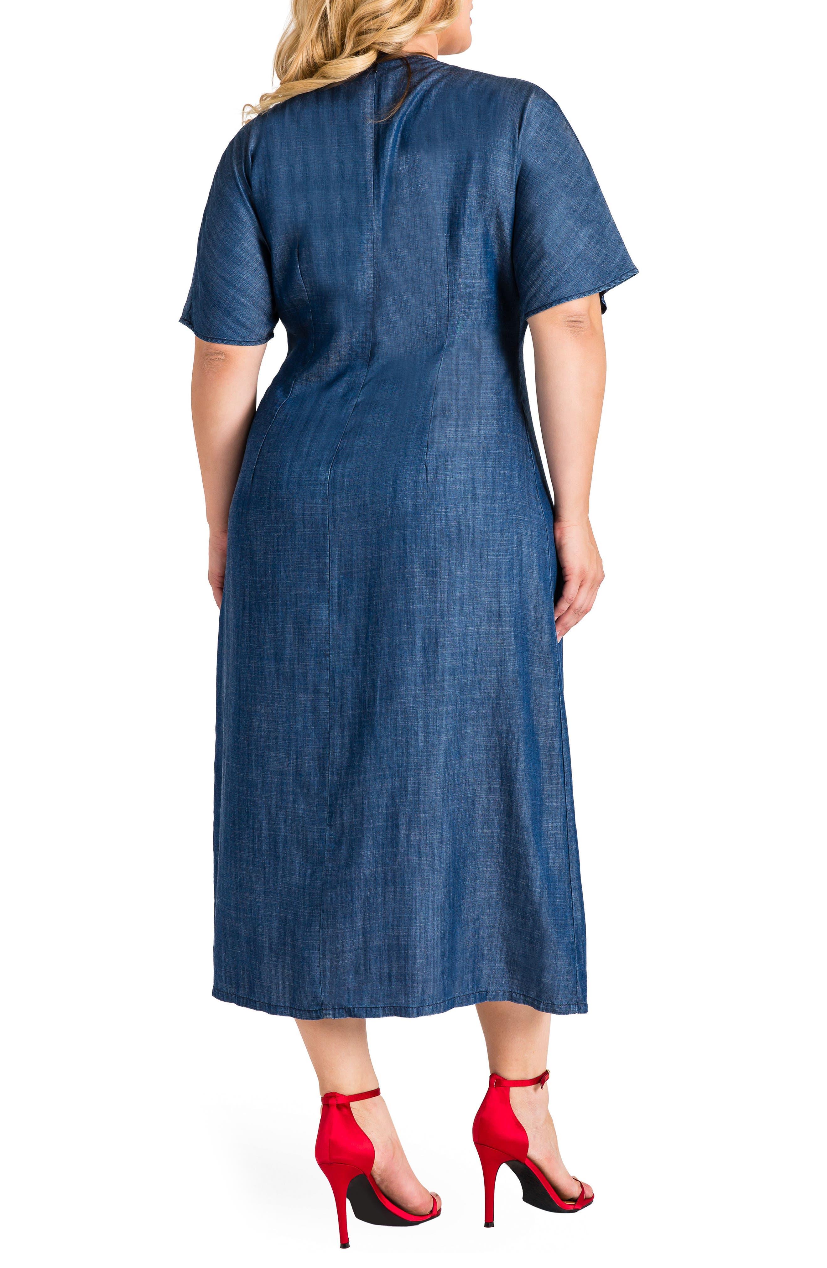 Standard & Practices Meme Tencel Midi Dress,                             Alternate thumbnail 2, color,                             NAVY