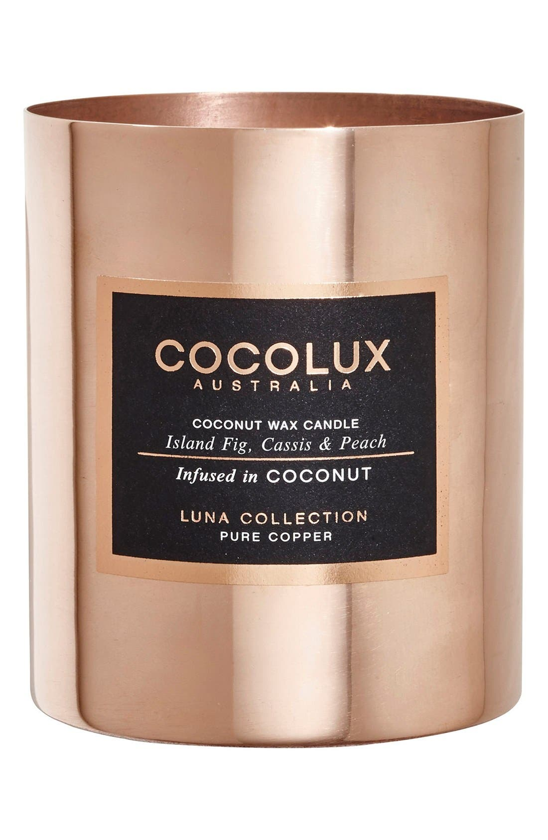 Island Fig, Cassis & Peach Copper Candle,                             Main thumbnail 1, color,                             000